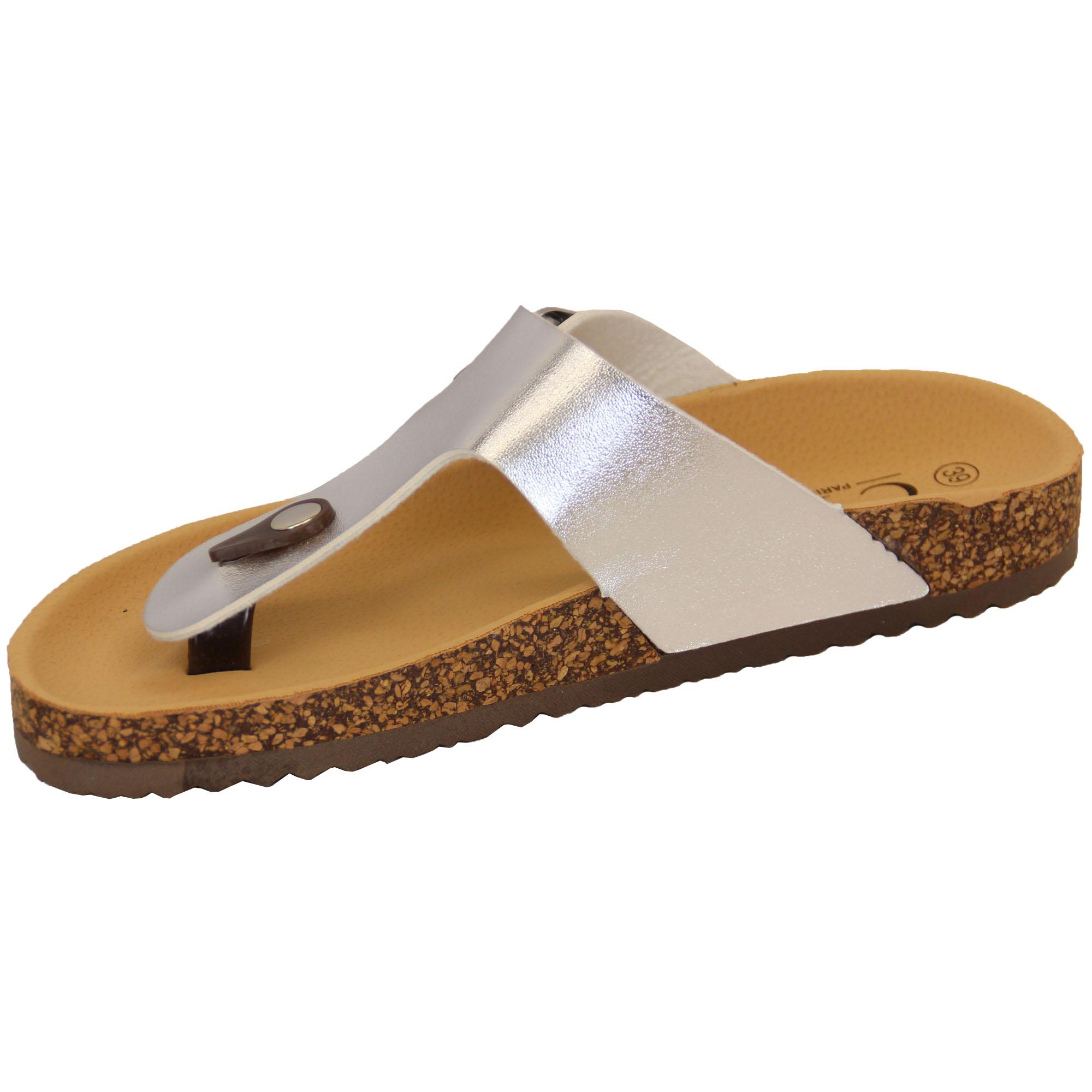 123cb1439e27 Ladies Slip On Mule Sandals Womens Flat Toe Post Patent Cork Flip ...
