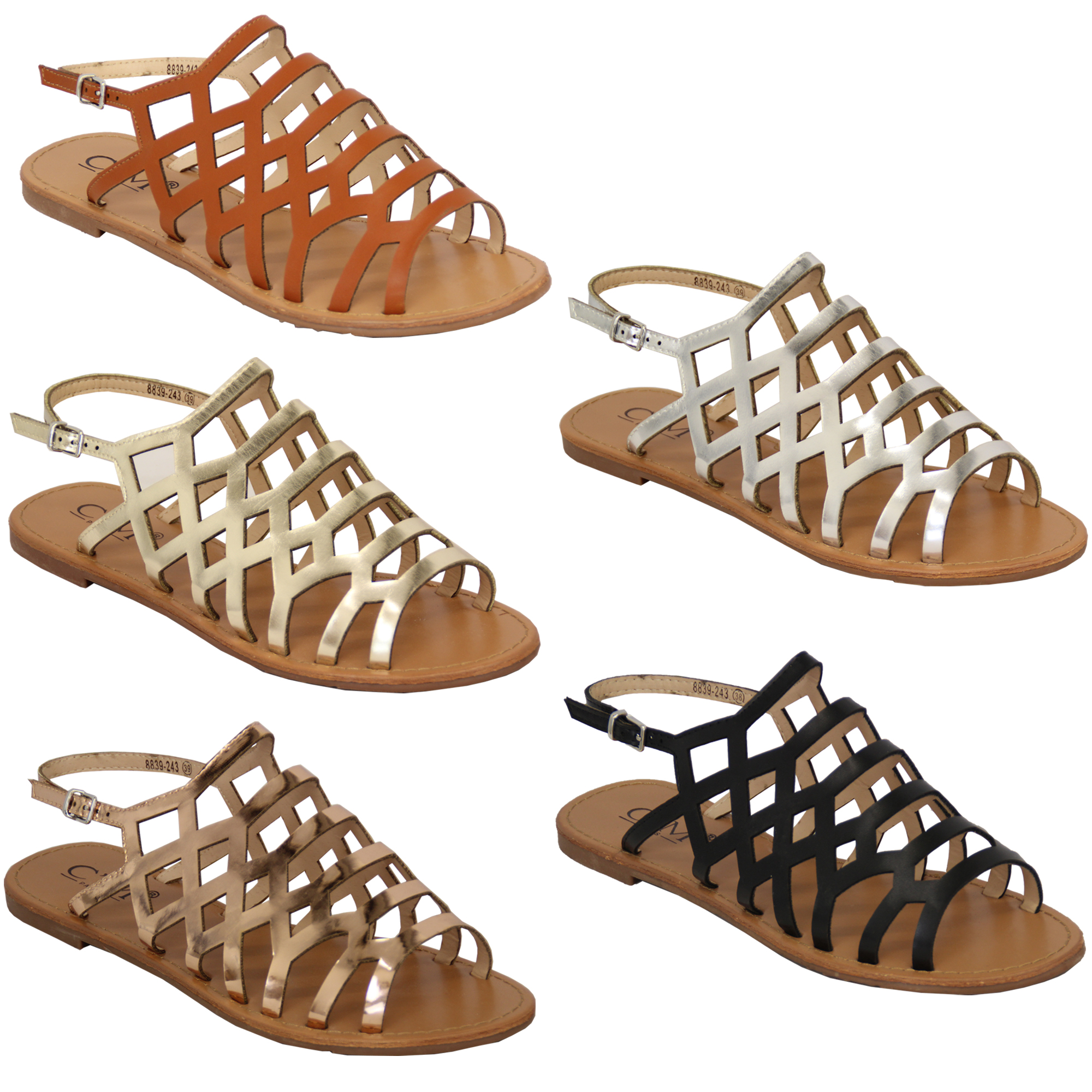 Details about Ladies Gladiator Sandals Womens Flat Open Toe Buckle Shoes Fashion Summer New