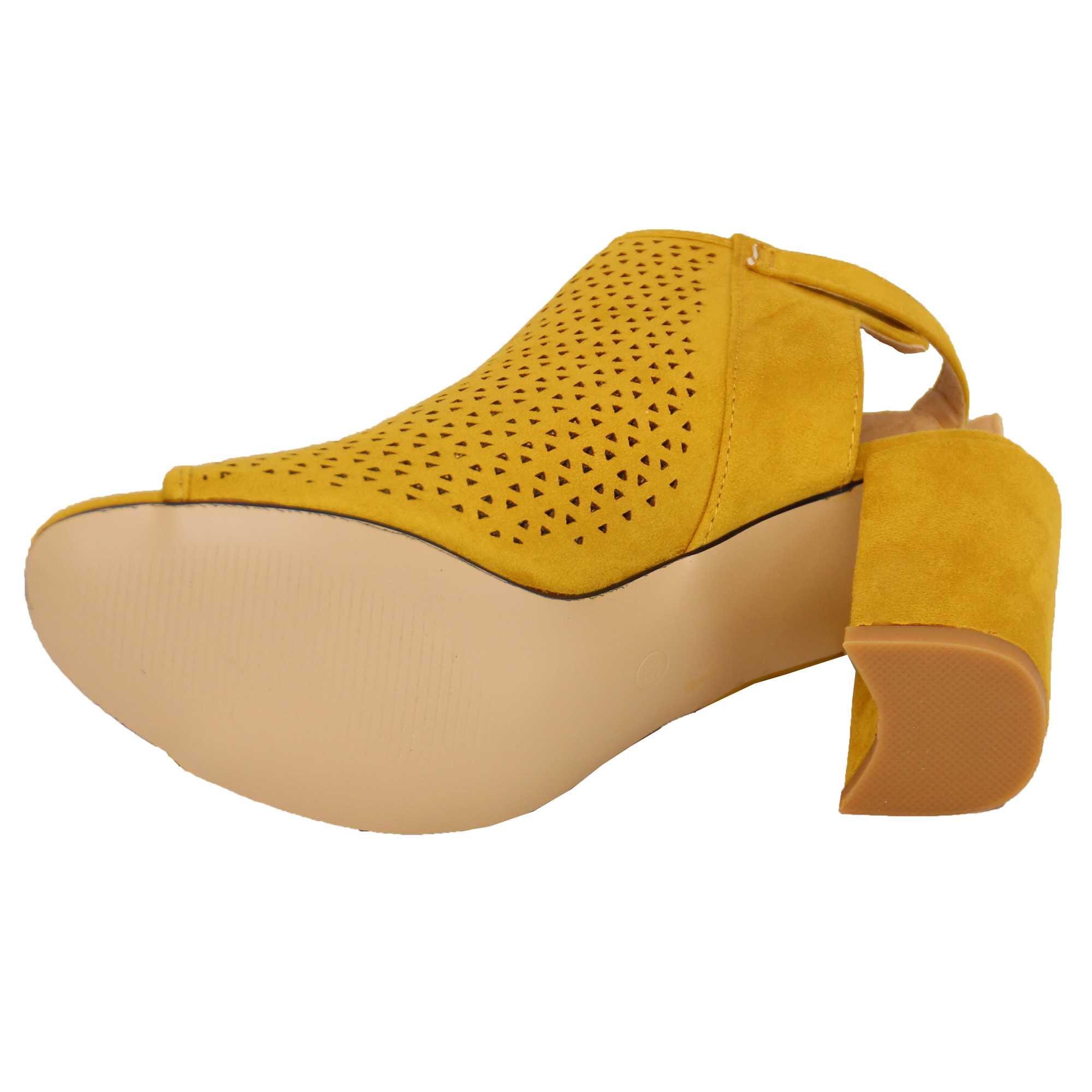 Ladies Mule Sandals Womens Block Heel Peep Toe Shoes ...