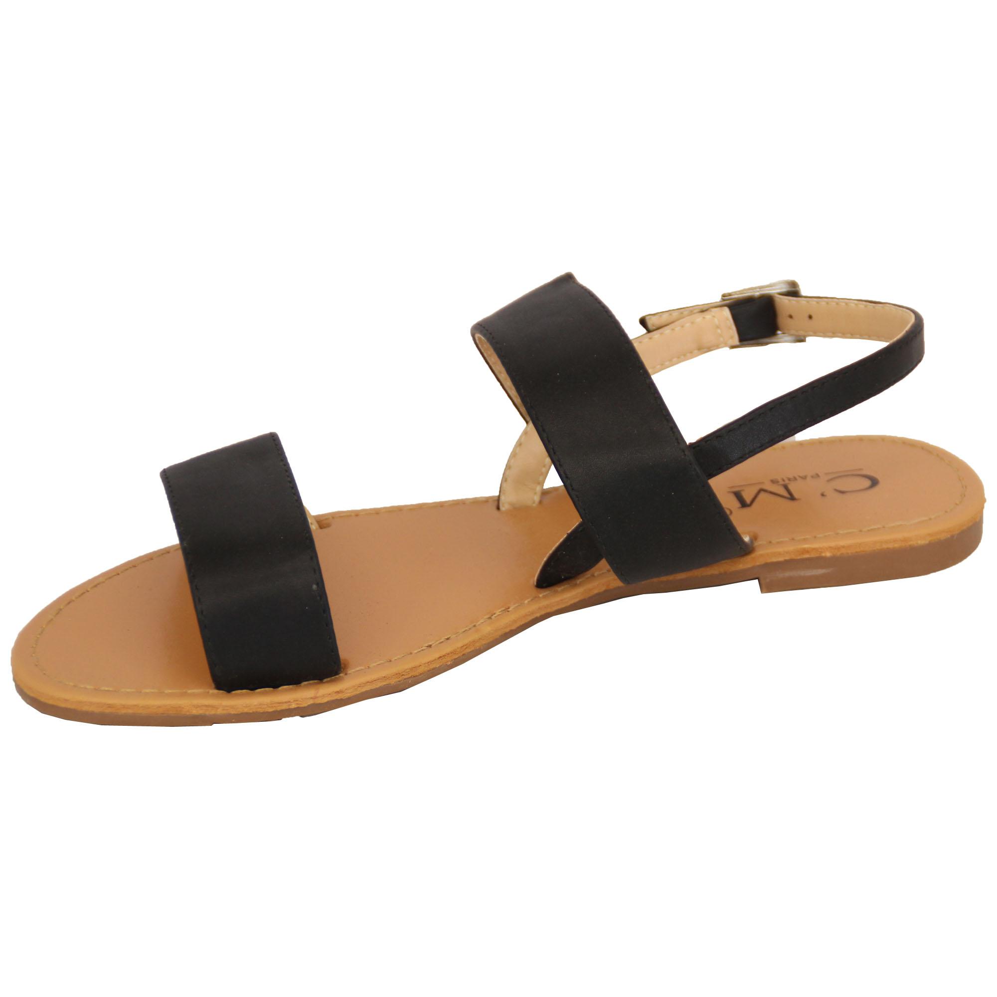 5d429fa53d0 Ladies Flat Sandals Womens Open Toe Double Strap Buckle Casual ...
