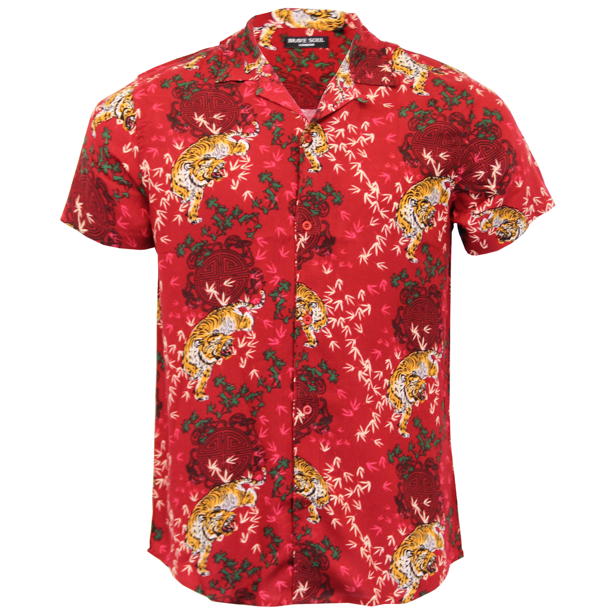 Mens hawaiian shirt brave soul tiger print legend short for Lsu hawaiian print shirts