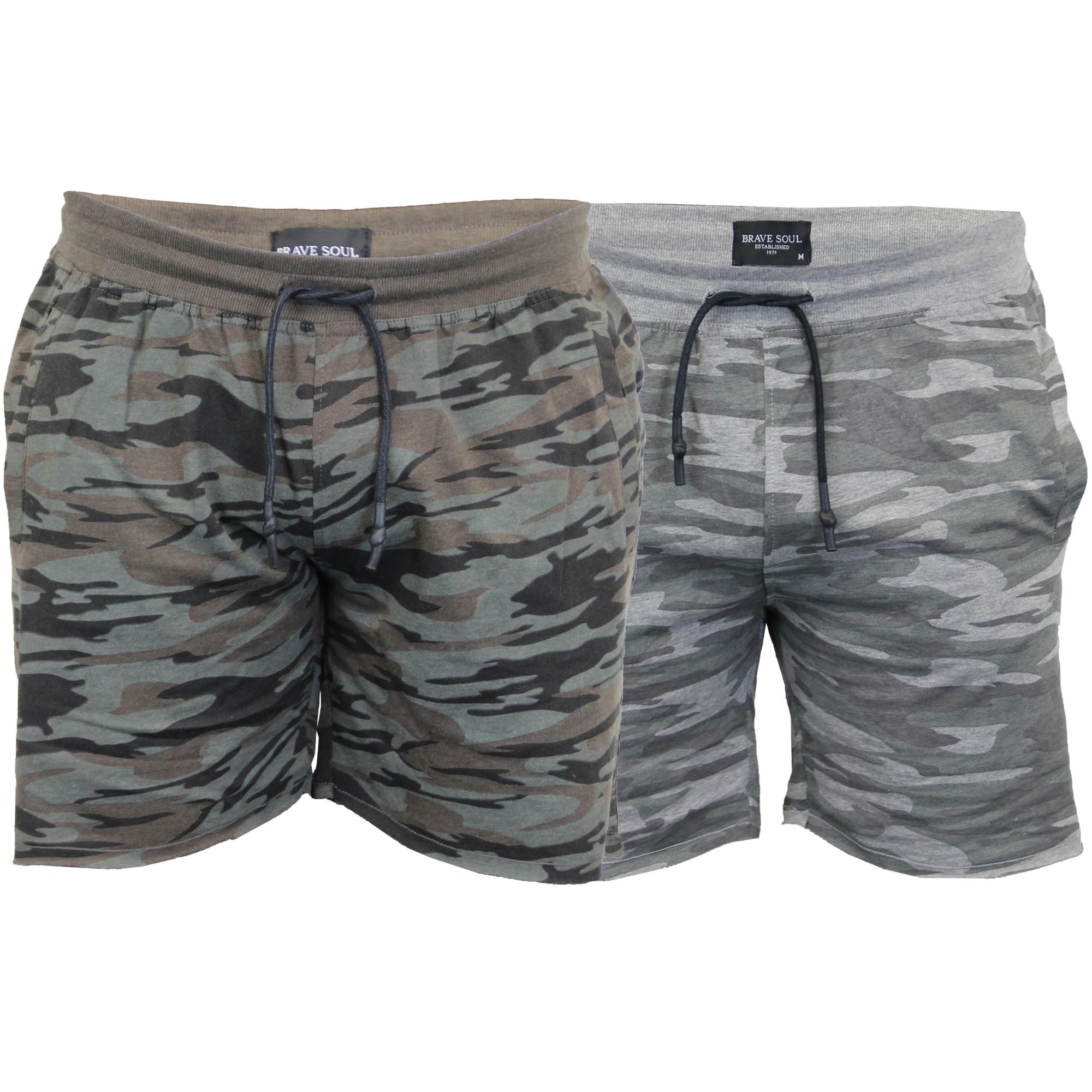 549223c4ba Mens Camo Jersey Shorts Brave Soul Crews Army Military Print ...