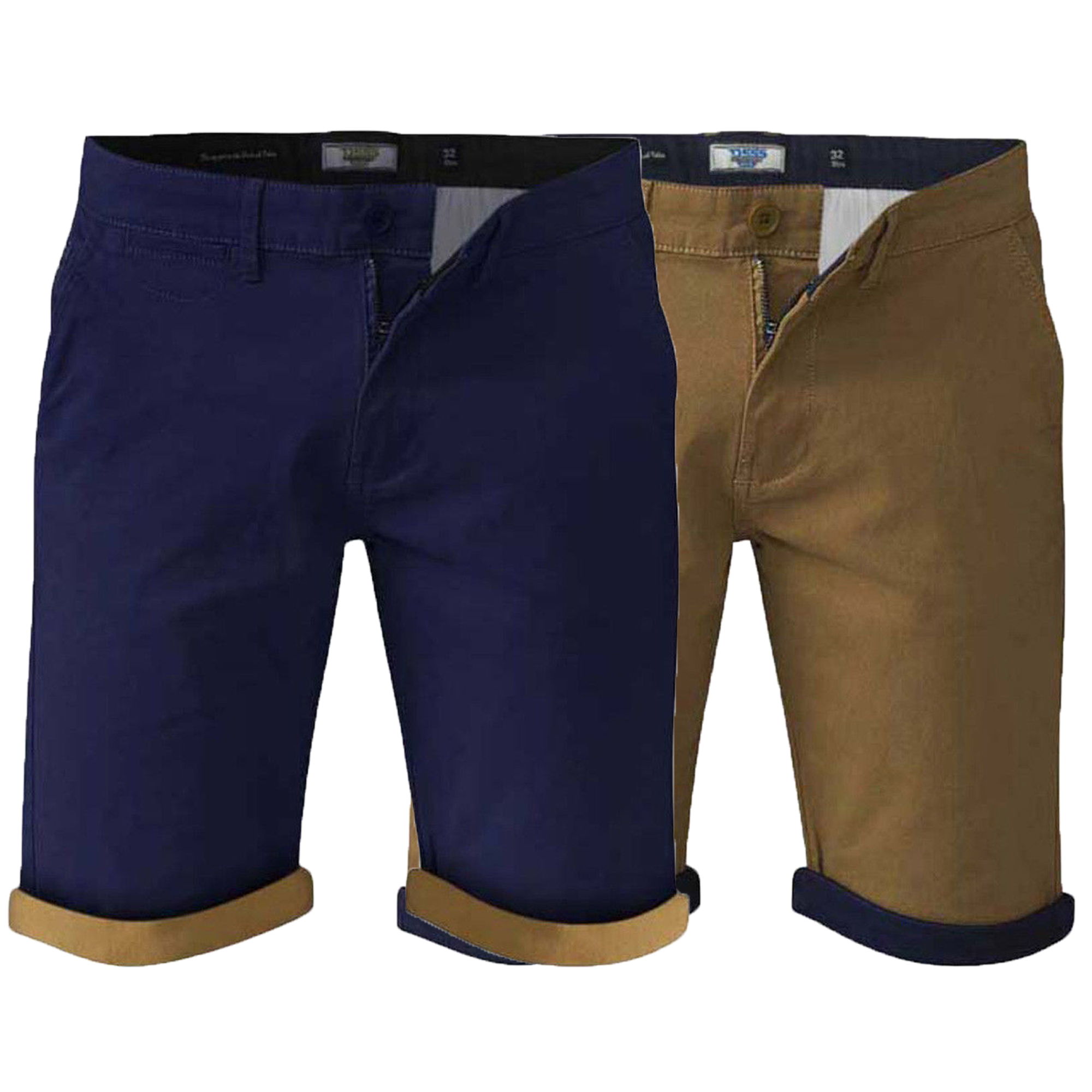 8b67141d70e Details about Mens Chino Shorts D555 Duke Big King Size Morgan Roll Up Knee  Length Summer New