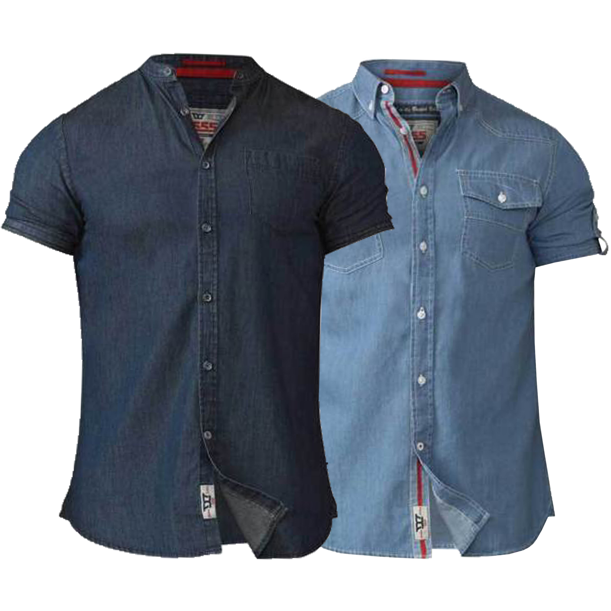 Mens-Denim-Shirt-D555-Duke-Big-King-Size-Cotton-Astra-Nathan-Short-Sleeved-New thumbnail 4