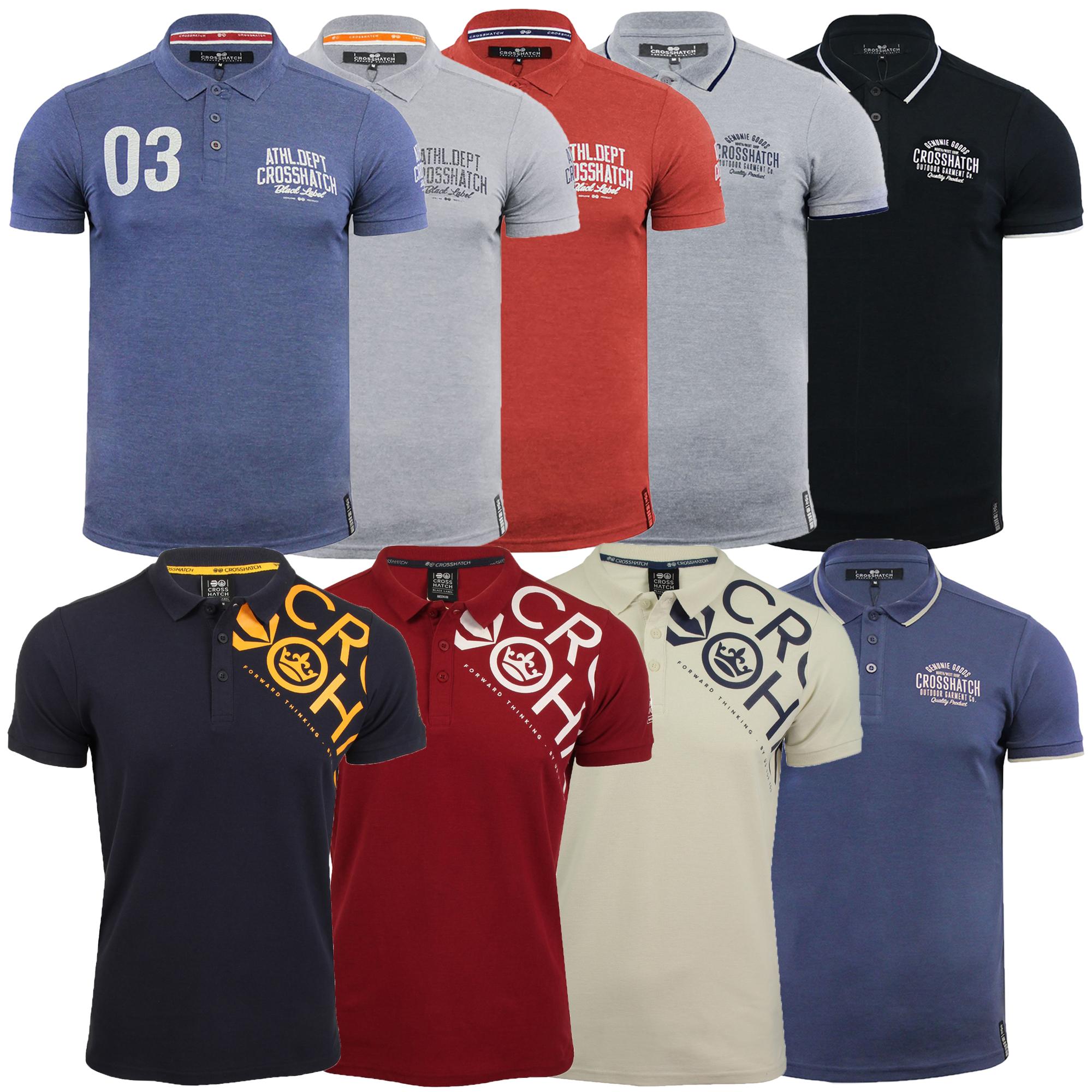 Crosshatch Mens Polo Shirt Ribbed Collar Cotton T Shirt Short Sleeve Casual Top