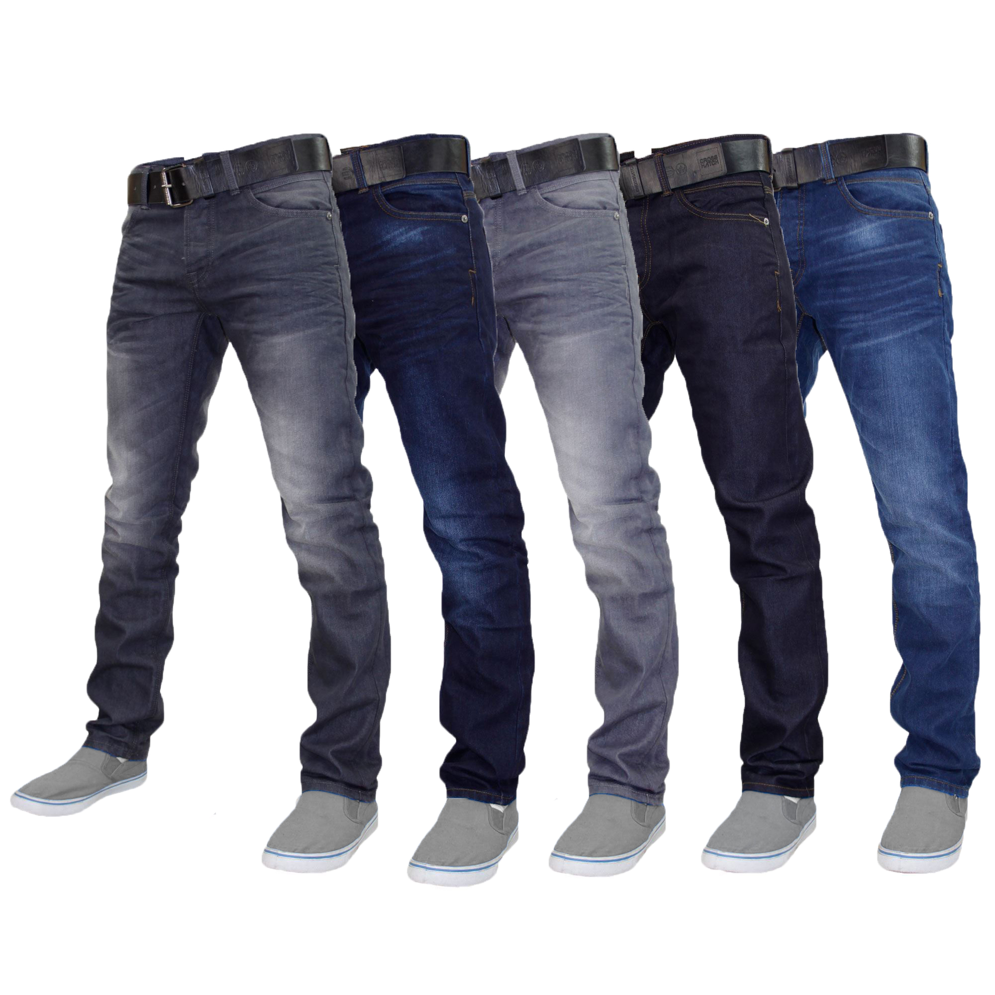 Details about Mens Denim Jeans Crosshatch Wayne Coated Slim Fit FREE BELT Straight Leg Pants