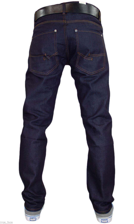 Mens-Denim-Jeans-Crosshatch-Wayne-Coated-Slim-Fit-FREE-BELT-Straight-Leg-Pants