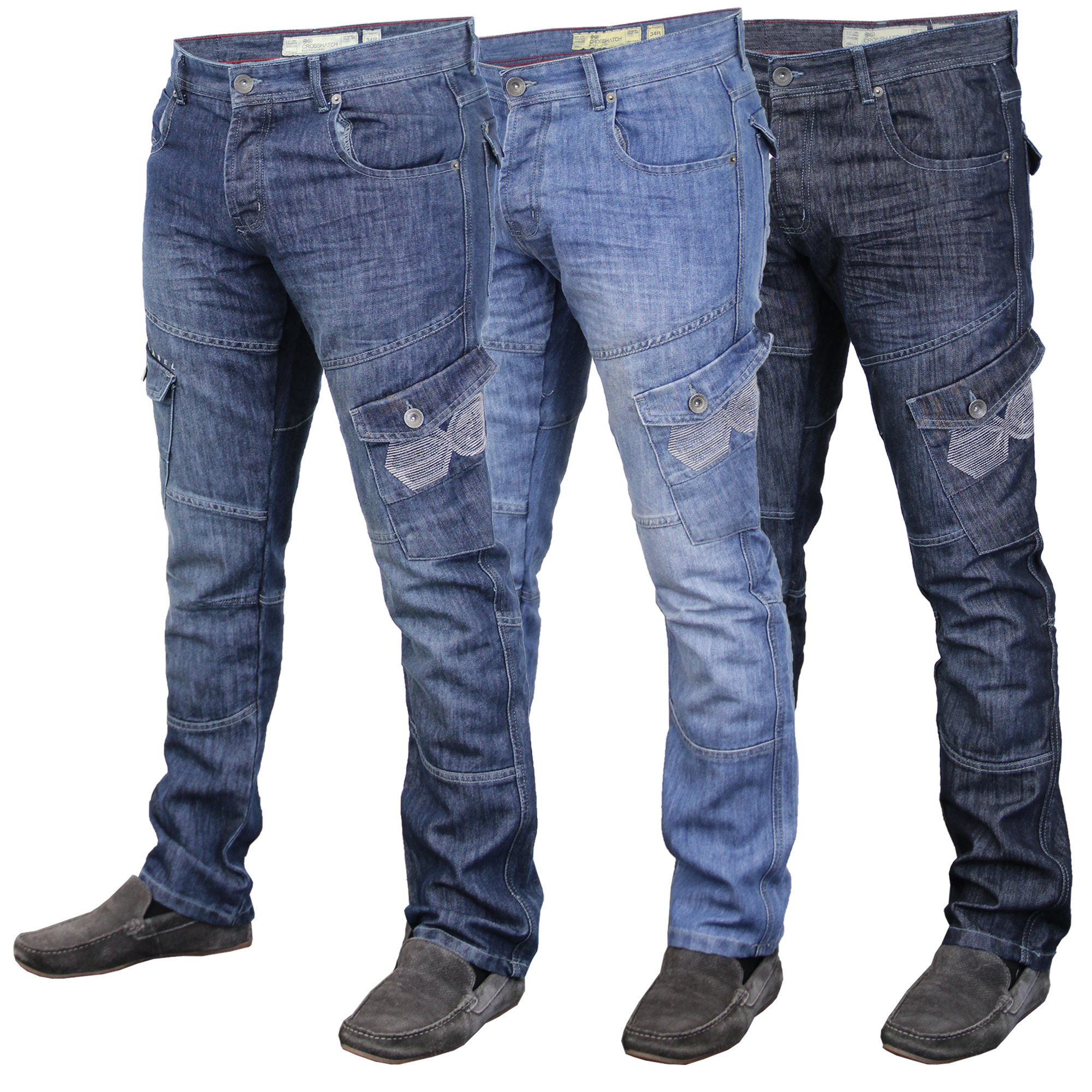 incredible prices sale online attractive price Details about Mens Denim Jeans Crosshatch New Cargo Combat Bottoms Trousers  Straight Leg Pants