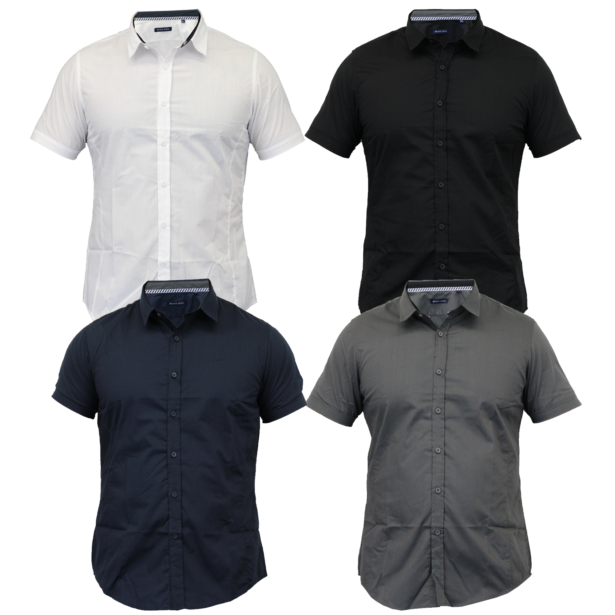 Mens-Shirts-Brave-Soul-Short-Sleeved-Slim-Fit-Mombassa-Plain-Collared-Summer-New thumbnail 4