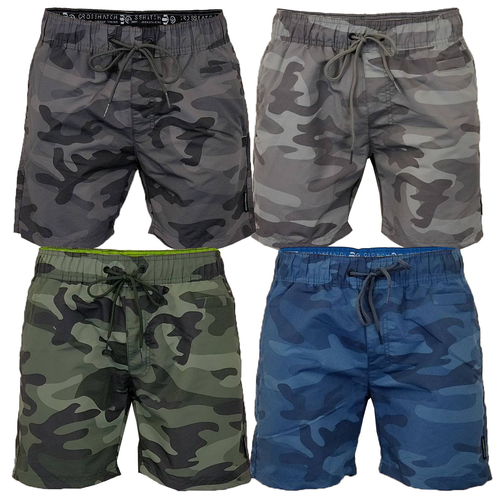 954d0c9ae2 Mens Camouflage Swim Shorts Crosshatch Army Camoswim Military Knee ...