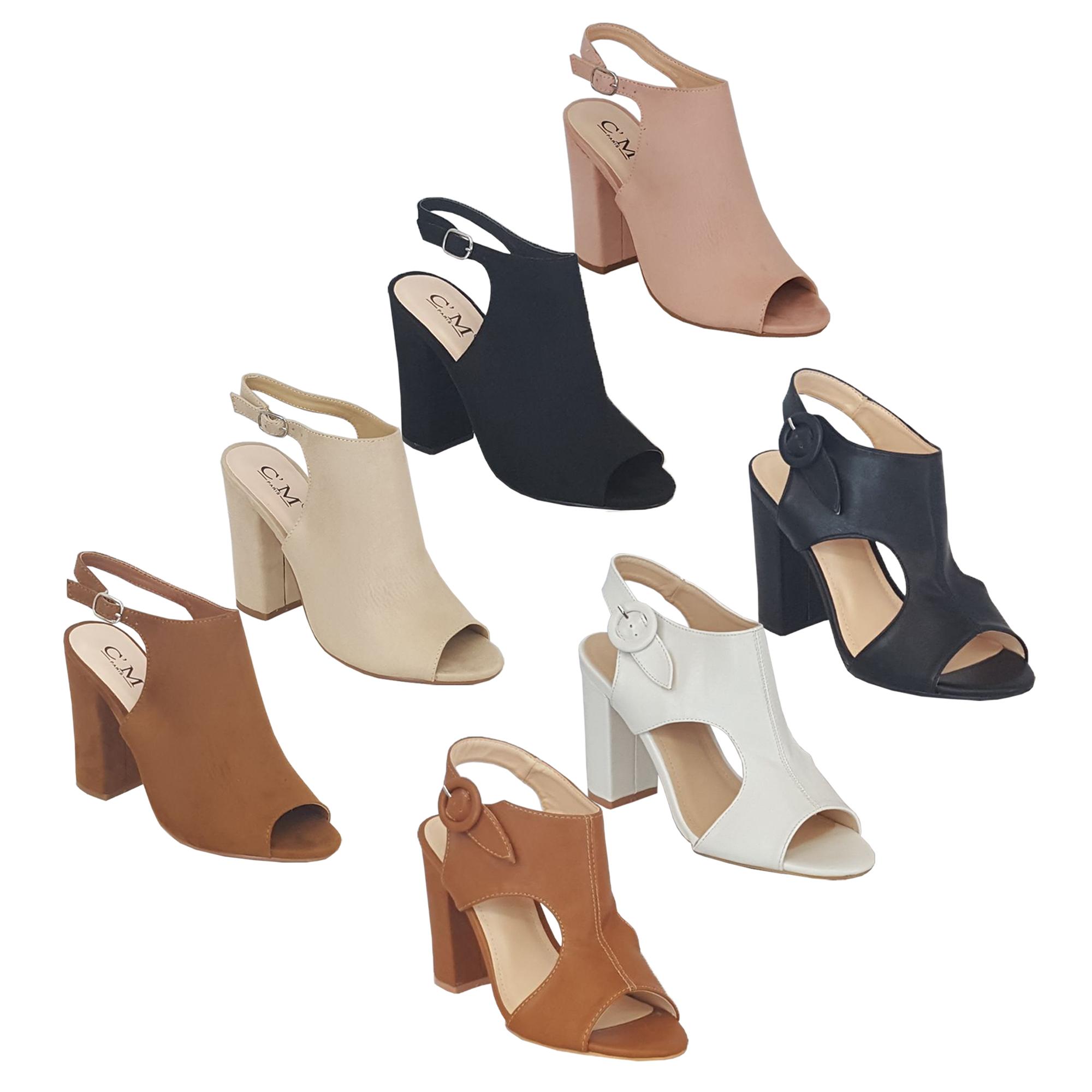 aef711db1c146 Ladies Block Heel Mule Sandals Womens Peep Toe Shoes Buckle Wedding ...