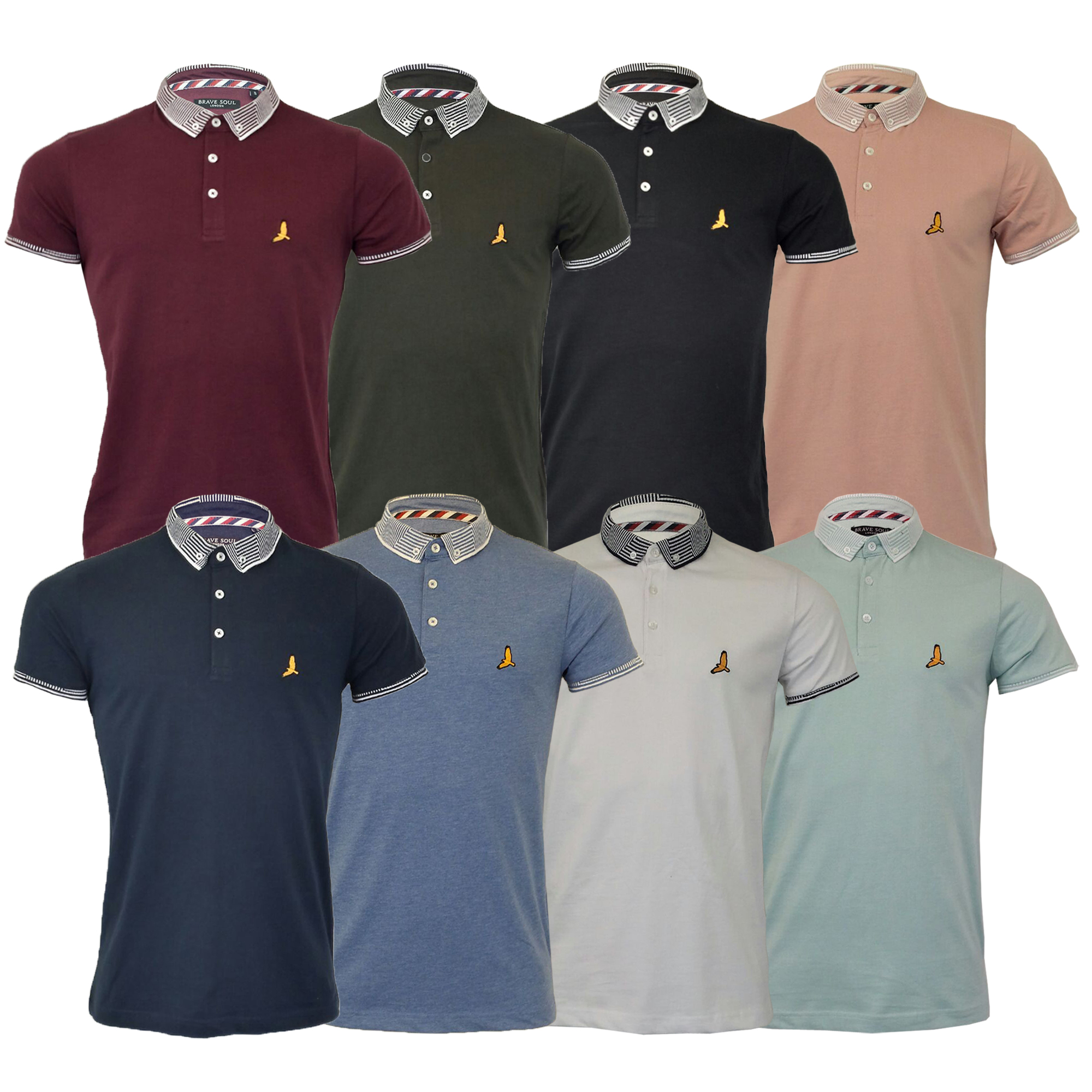 e7597184 Details about Mens Polo T Shirt Brave Soul Glover Short Sleeved Cotton  Collared Casual Summer