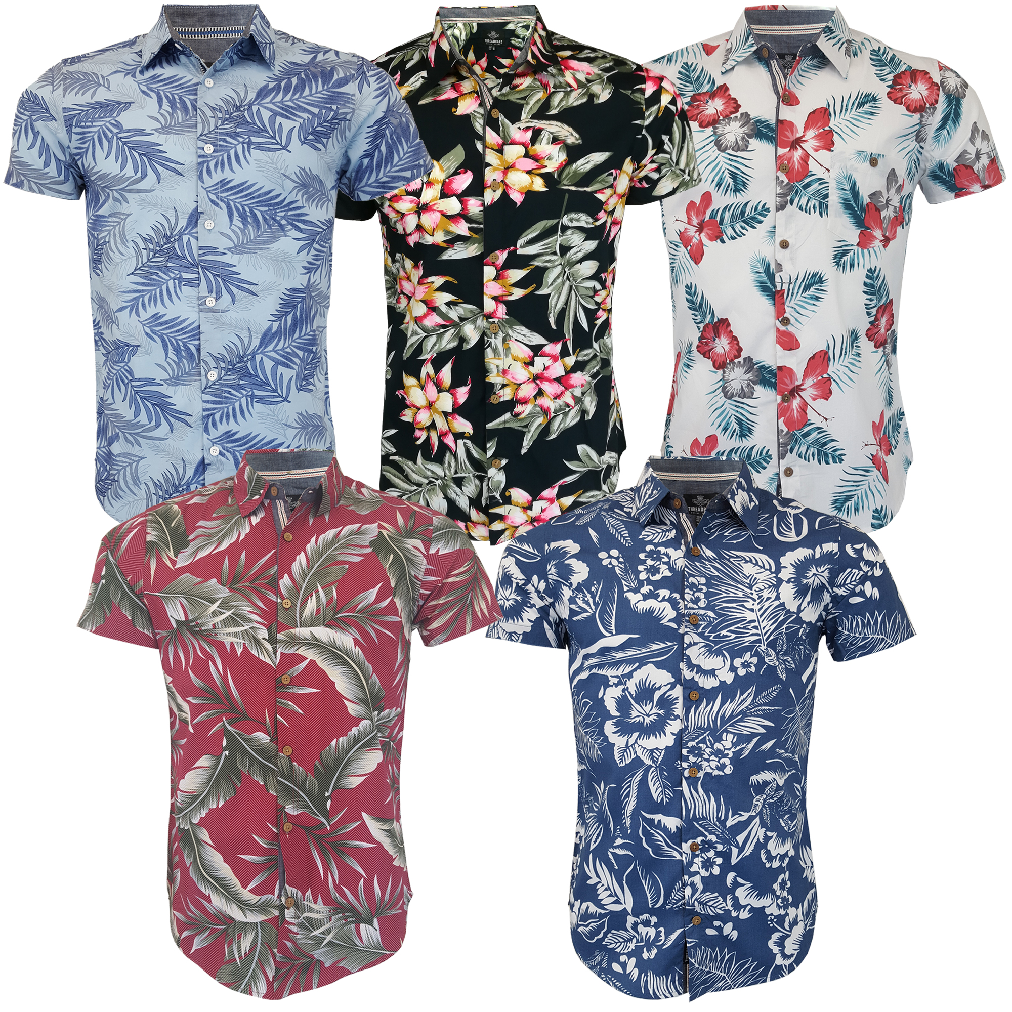 Herren-Hawaii-Hemd-abgezehrte-Blumendruck-Kurzaermeliges-Strand-Urlaub-Sommer-Neu Indexbild 4