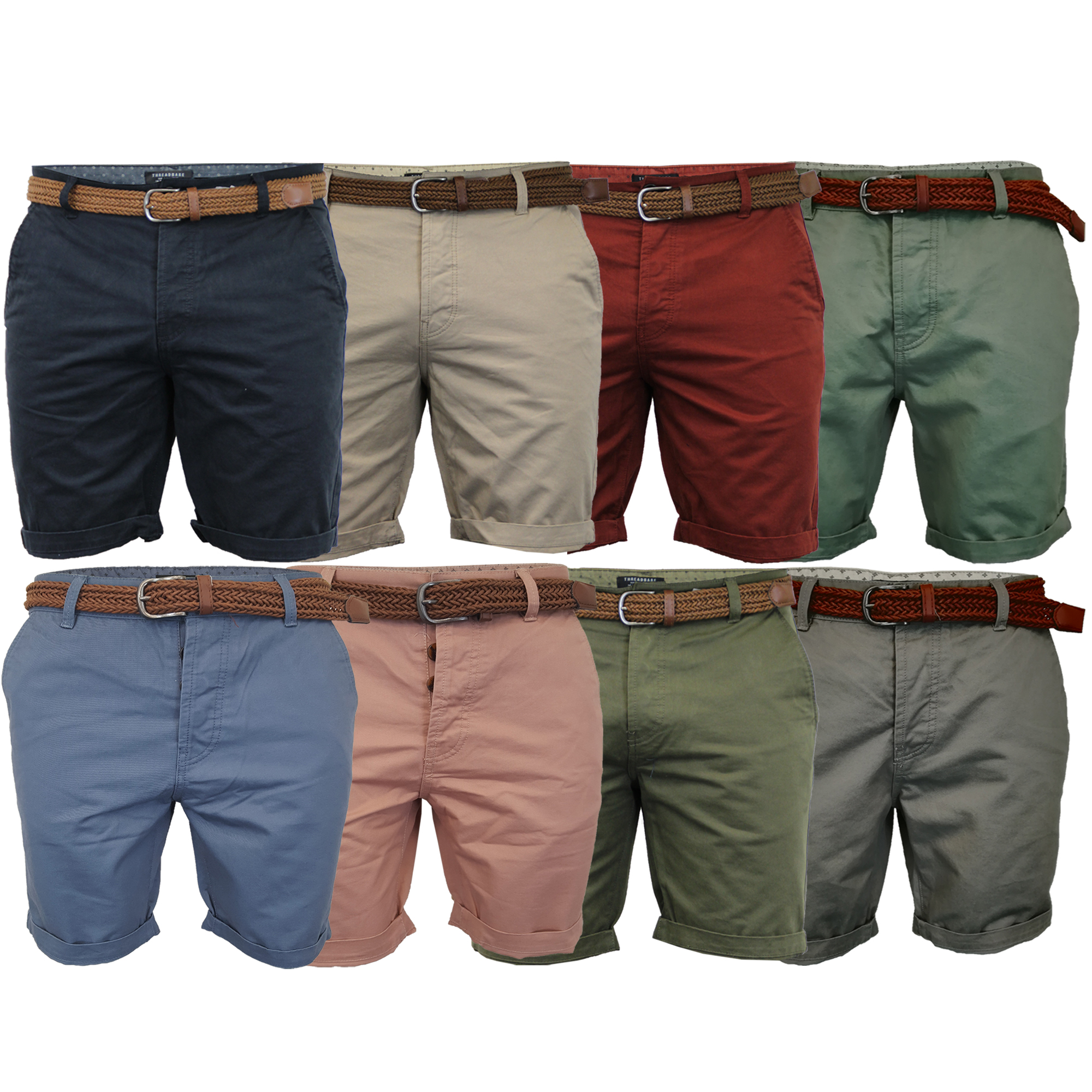 Mens Summer Threadbare Casual Cotton Knee Length Chino Shorts Belted Oxford 022