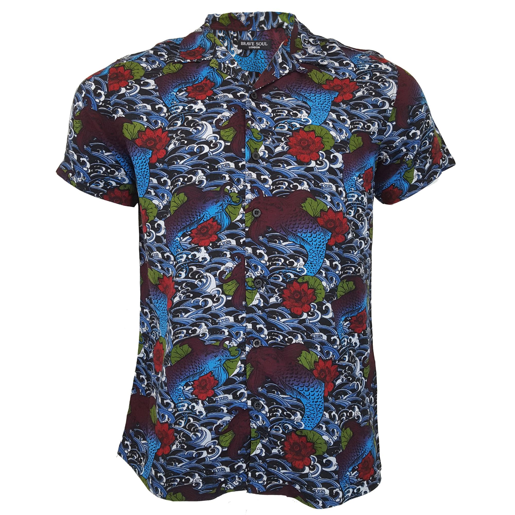 Mens hawaiian floral shirt brave soul dragon orient print for Fish hawaiian shirt