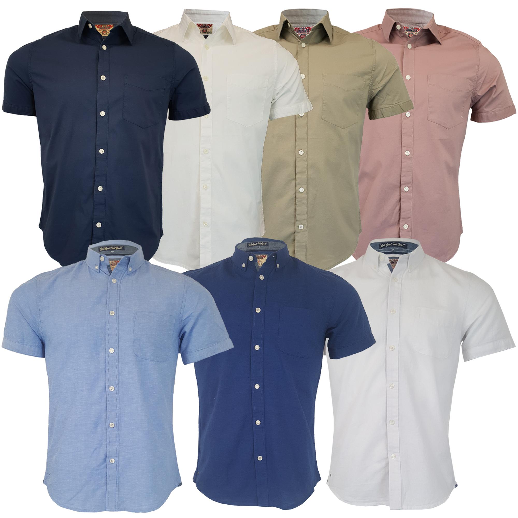 Mens-Linen-Cotton-Shirt-Tokyo-Laundry-Wells-Short-Sleeved-Grosvenor-Summer-New thumbnail 4