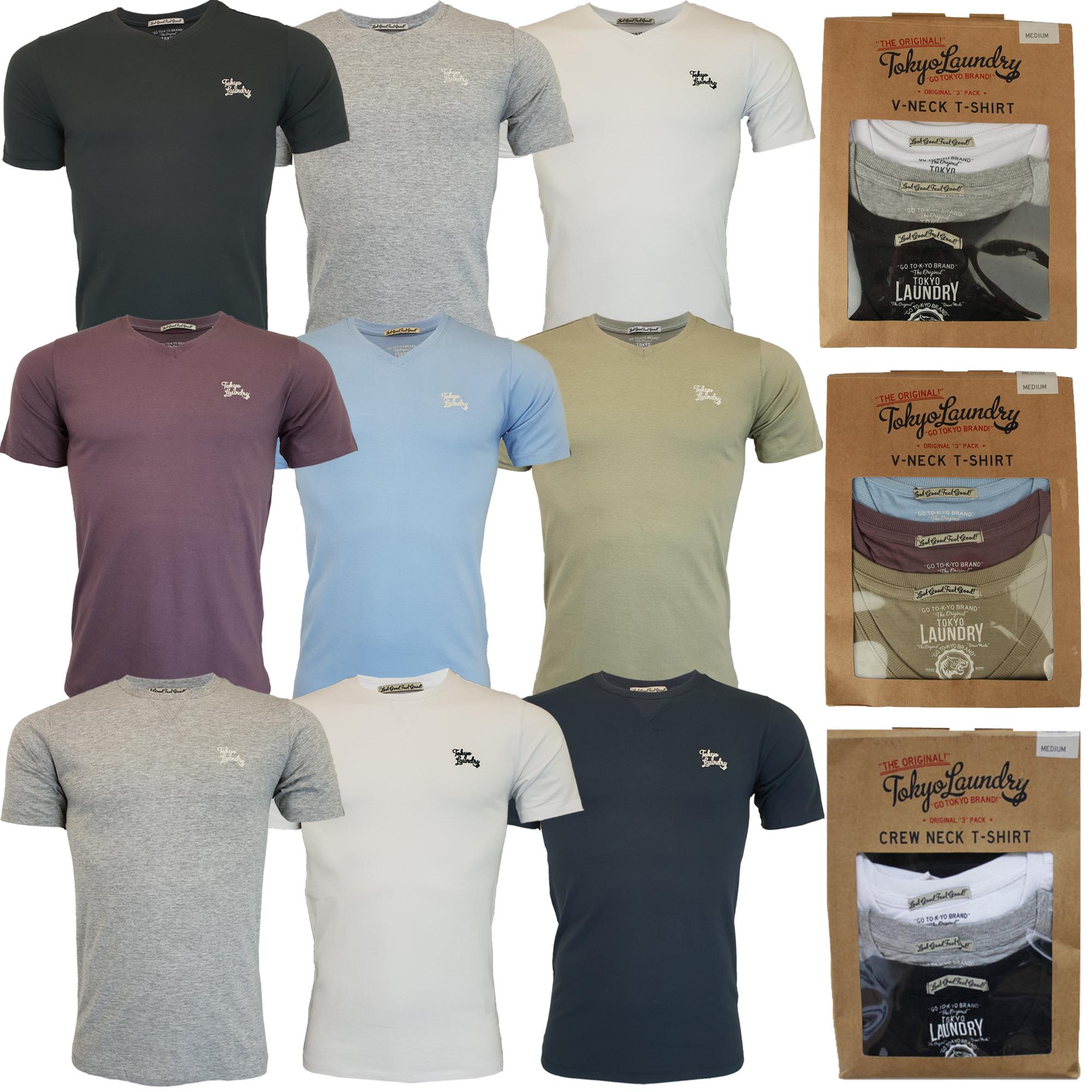 a11902eb7f3a New Mens Tokyo Laundry 3 Pack Plain Combed Cotton T-shirt Top Plain ...