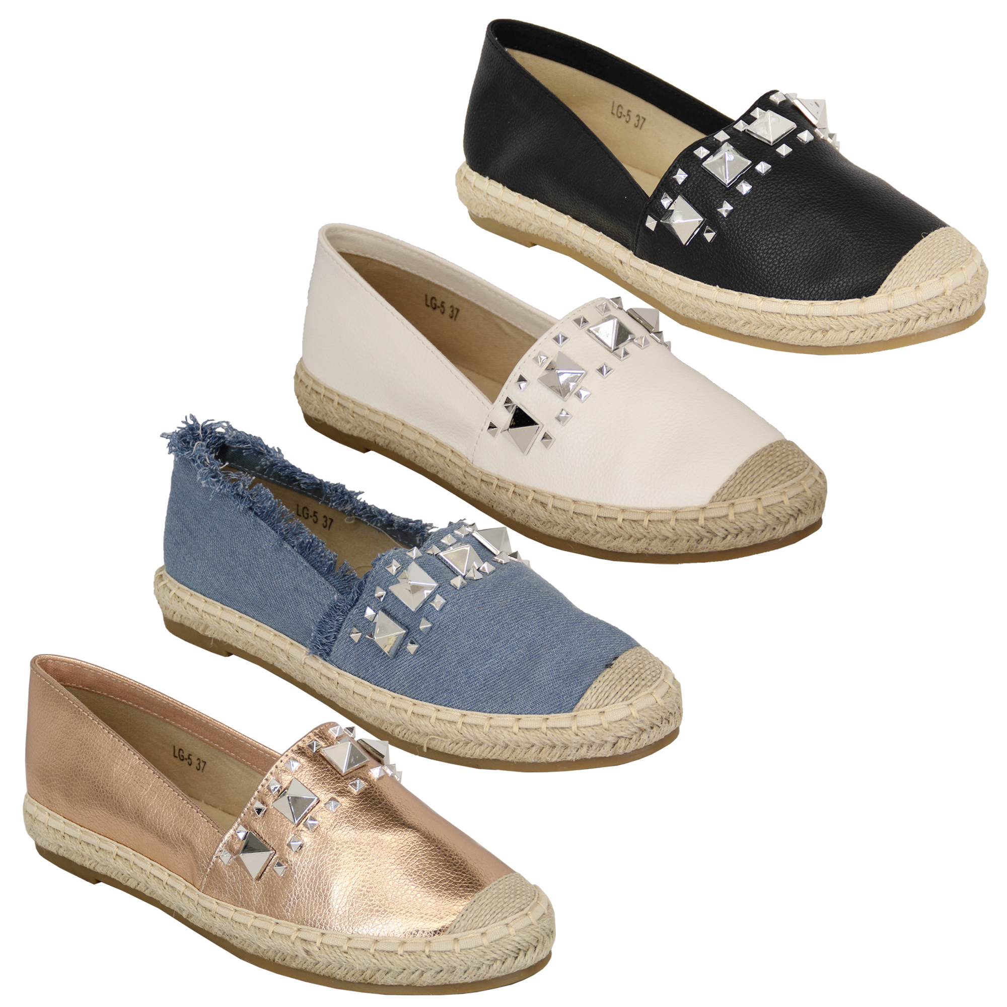 sneakers for cheap 0f815 428a0 Dettagli su Donna da Indossare da Donna Corda Espadrillas Sandali Borchie  Scarpe Estive