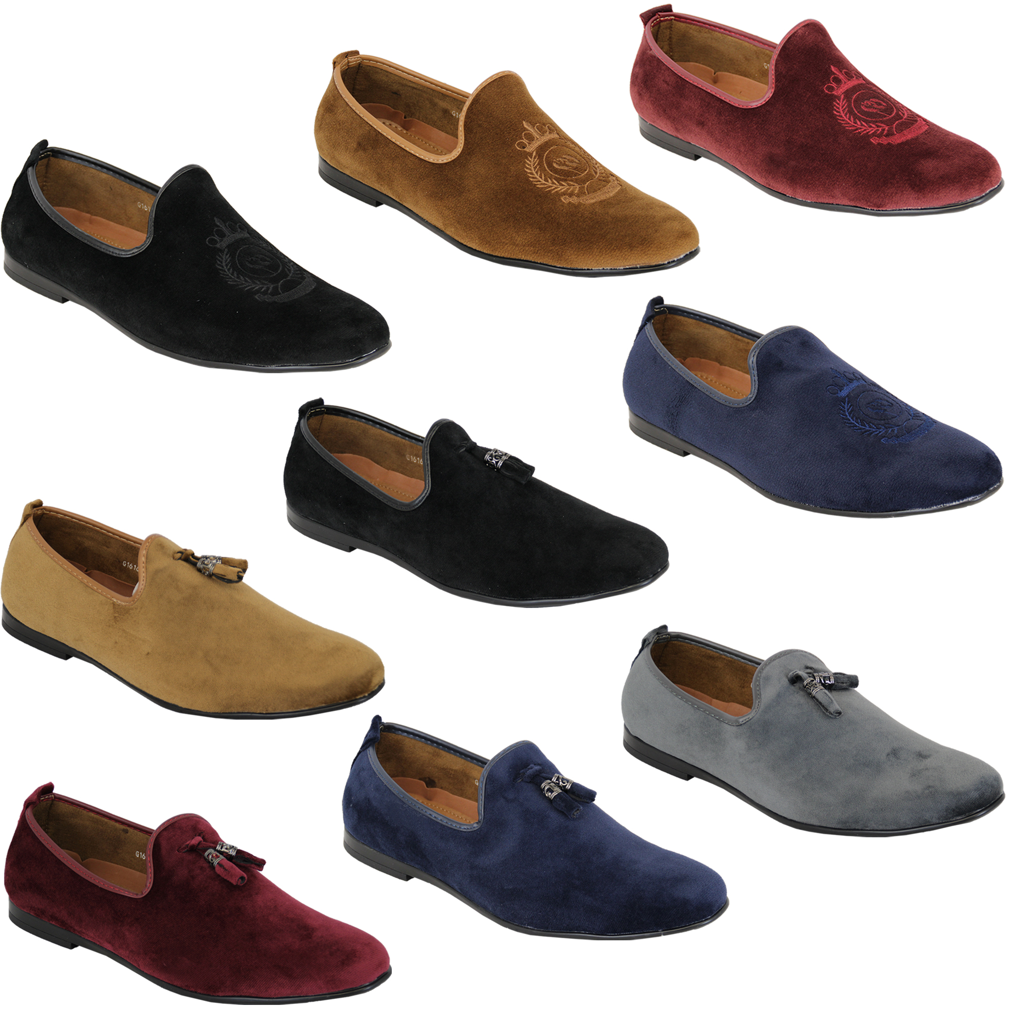 ad4a46bd853 Mens Shoes Slip On Italian Designer Loafers Suede Look Tassels ...