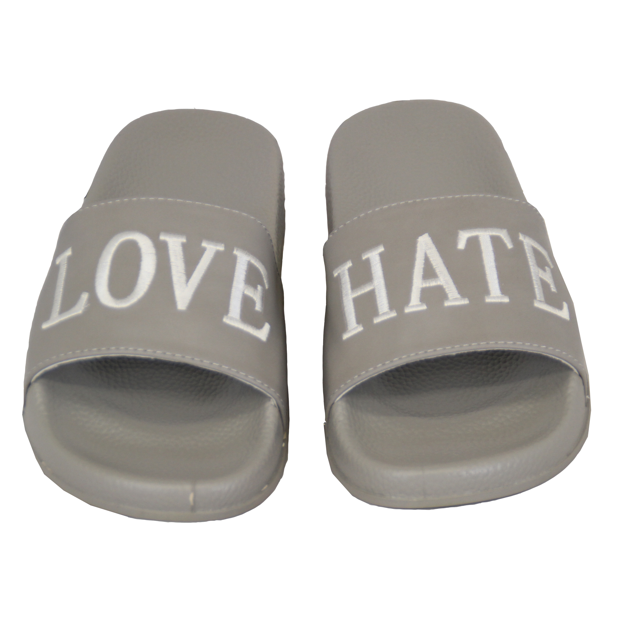 Ladies-Flat-Sliders-Love-Hate-Slippers-Slip-On-Mules-Womens-Summer-Sandals-Shoes