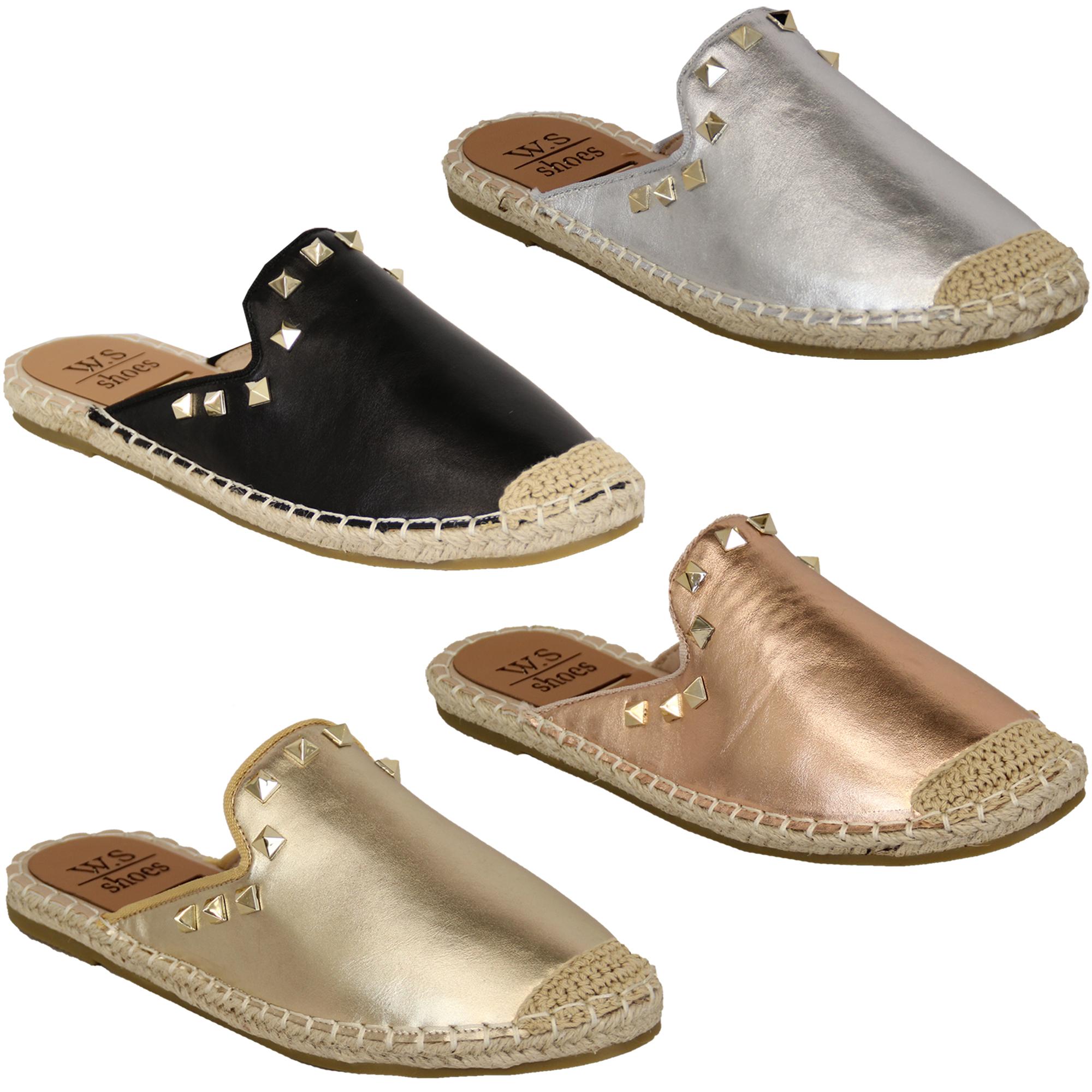7d9e8407576c03 Ladies Mule Rope Slip On Slippers Womens Flip Flops Espadrilles ...
