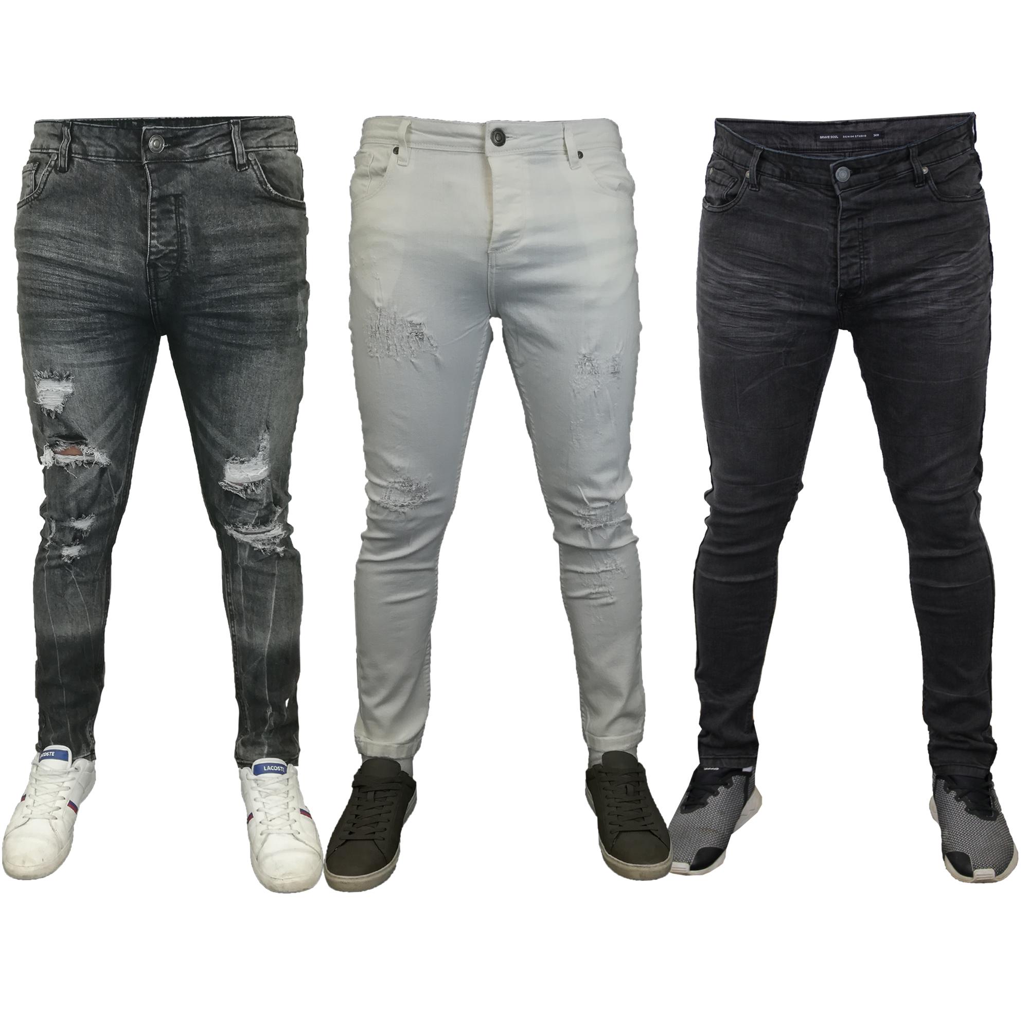 Mens SOUL Super Skinny Stretch Denim Designer Distress Ripped Repair Slim Jeans