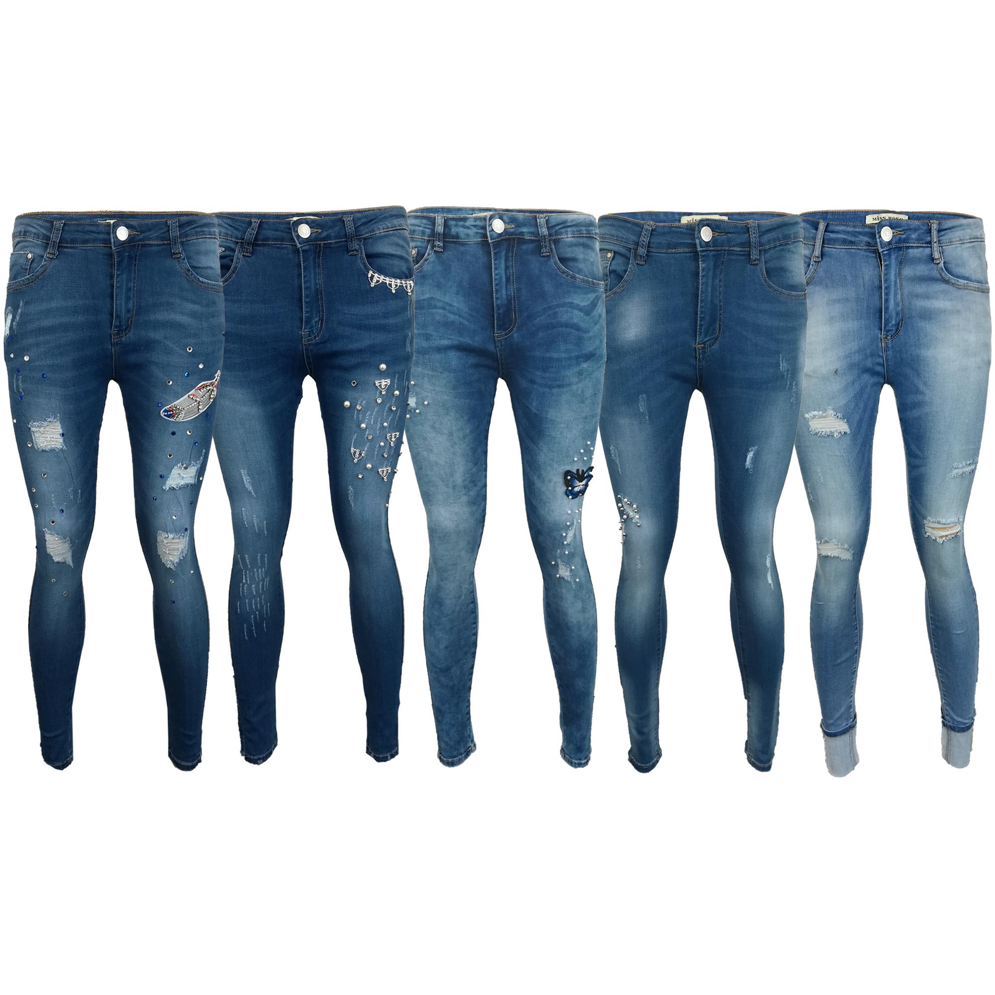 d47a76b5e Ladies Jeans Womens Pants Denim Skinny Slim Fit Trousers Ripped ...