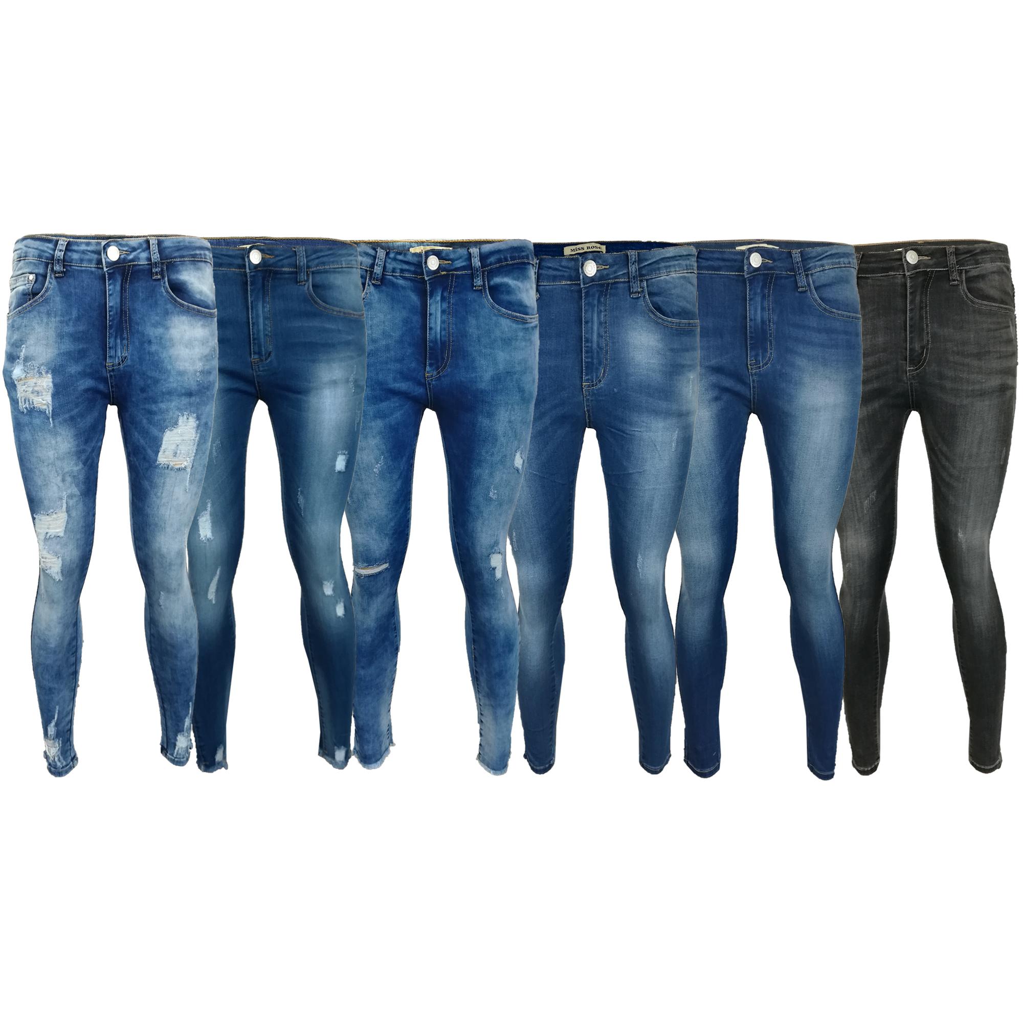 7f9ef3c920d Mujer Rasgado Vaquero Mujer Pitillo Corte Slim Pantalones Elástico ...