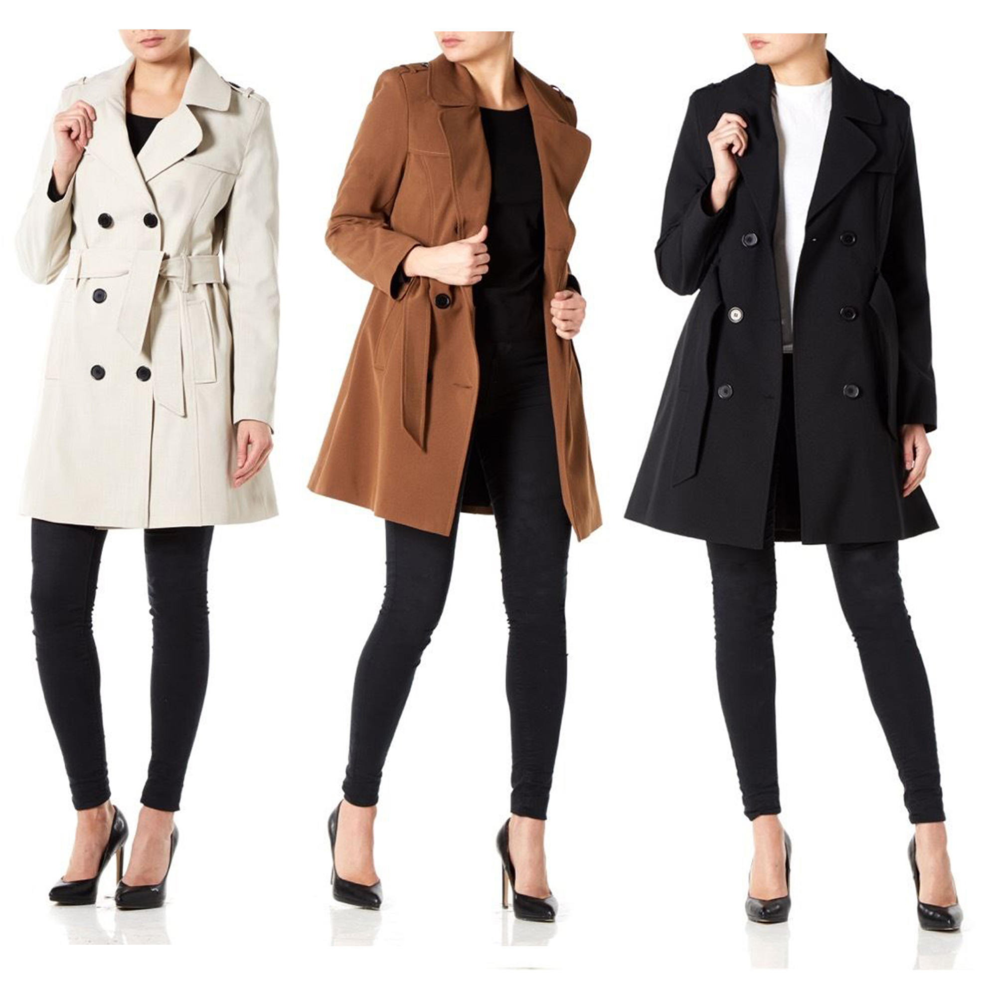 820d2f1db9 Details about Ladies Jacket Womens Double Breasted Mac Trench Coat Military  Spring Summer New