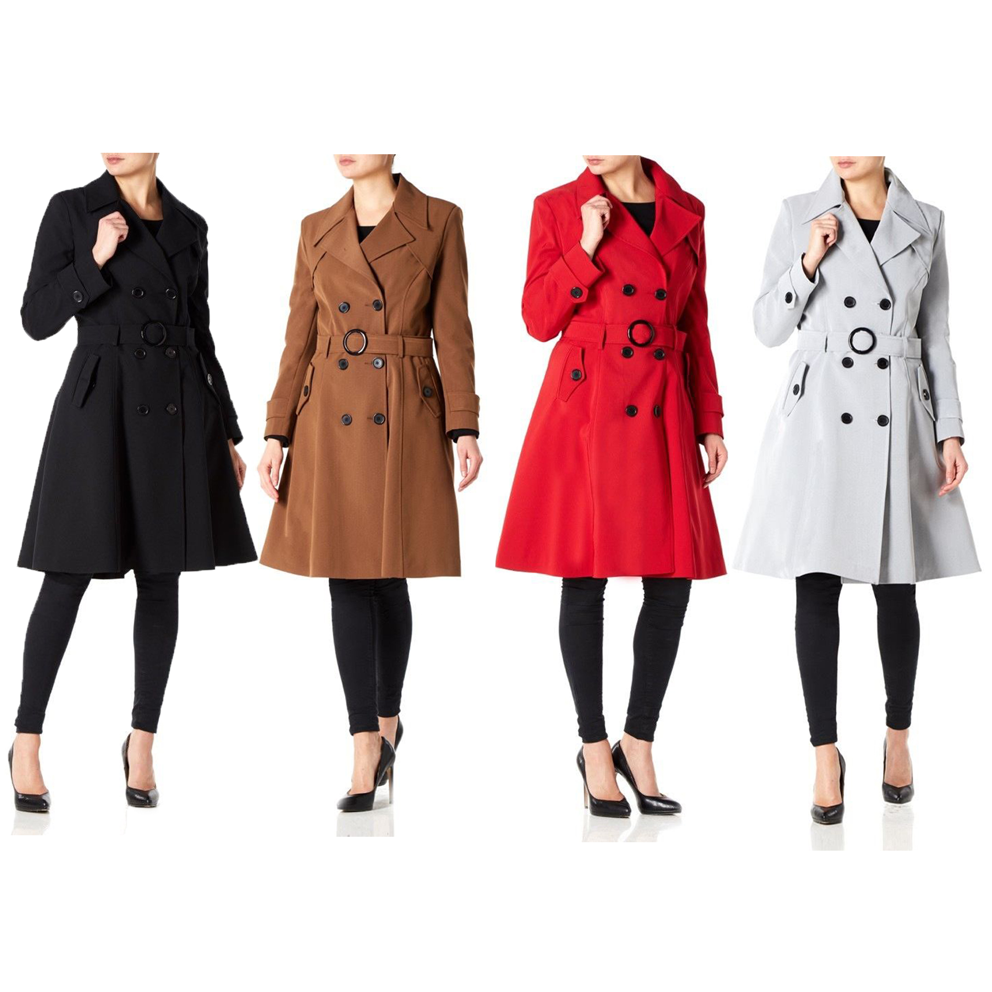 Ladies Mac Trench Coat Womens Double Breasted Jacket Belt Spring Summer Fashion Ebay