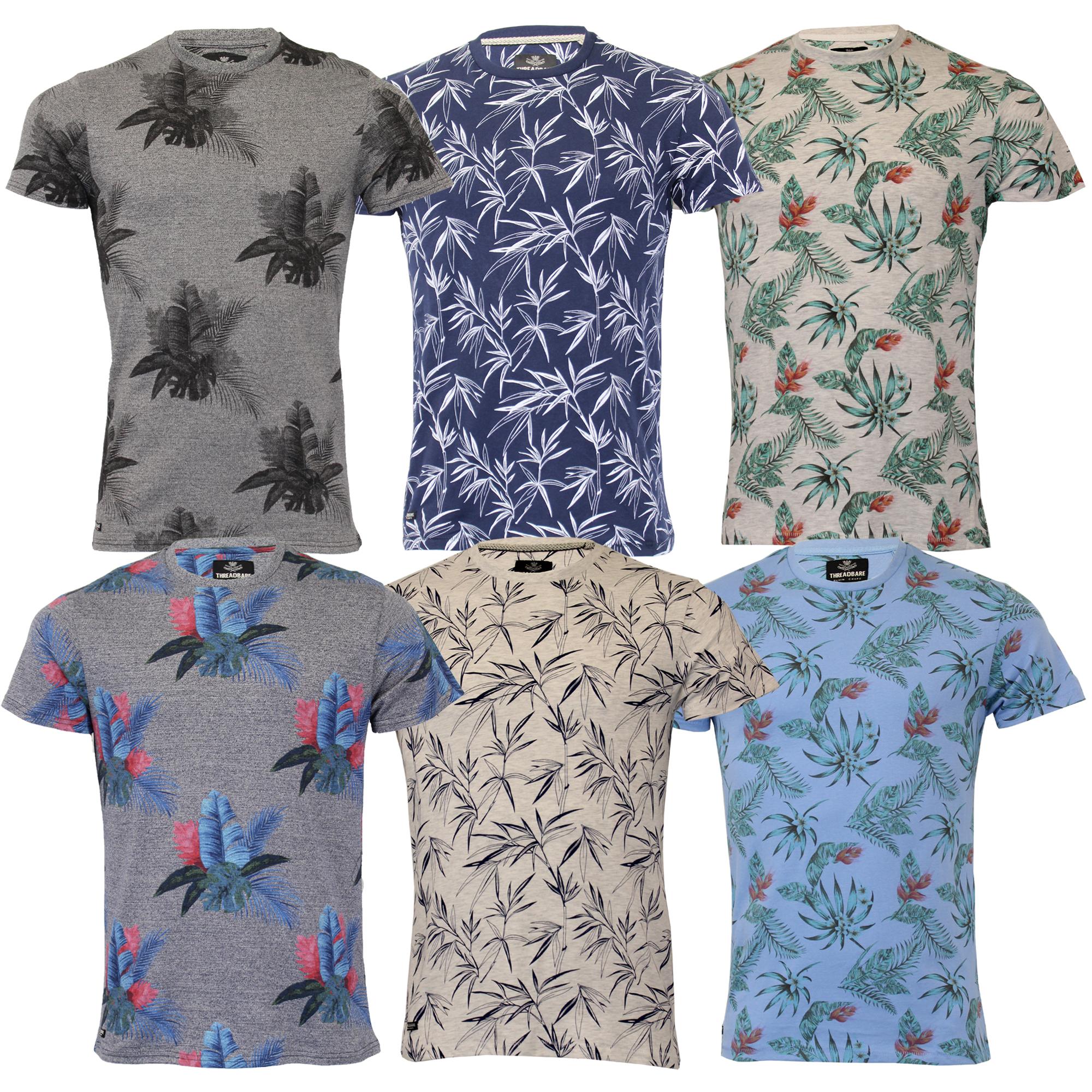 Mens Hawaii Shirt Threadbare Floral Print Short Sleeved Beach Holiday Summer New