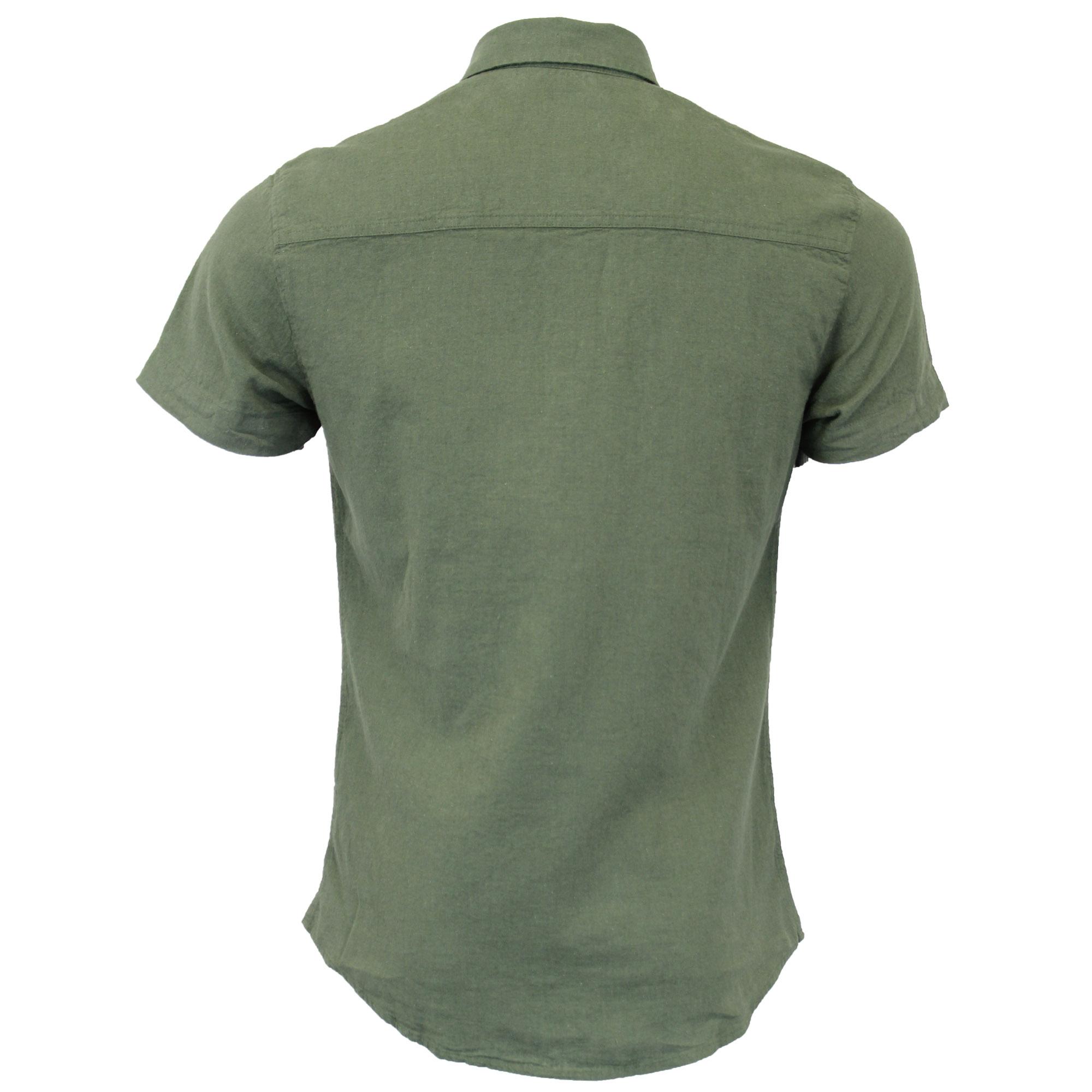 Mens-Linen-Shirt-Threadbare-Short-Sleeved-Brave-Soul-Collared-Casual-Summer-New thumbnail 10