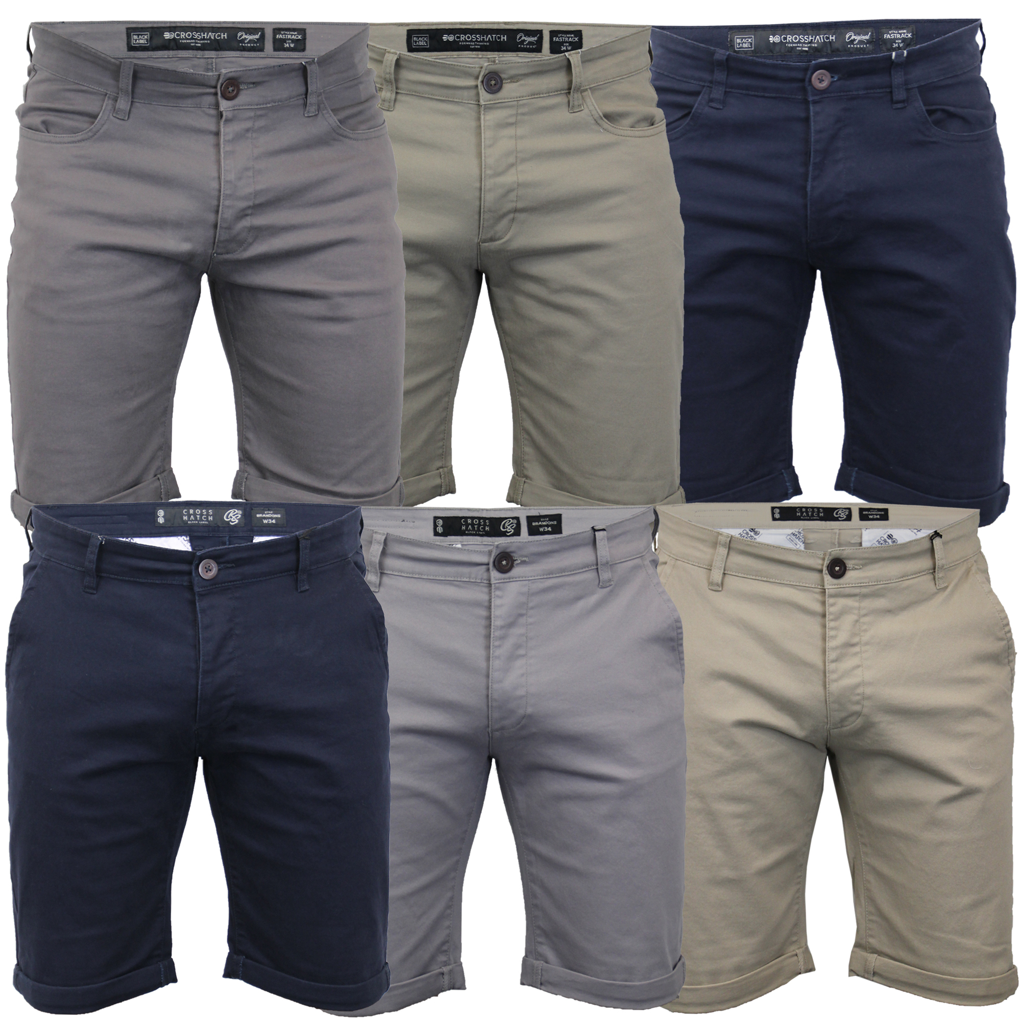 Mens-Chino-Shorts-Crosshatch-Brandons-Knee-Length-Fastrack-Roll-Up-Summer-New thumbnail 4