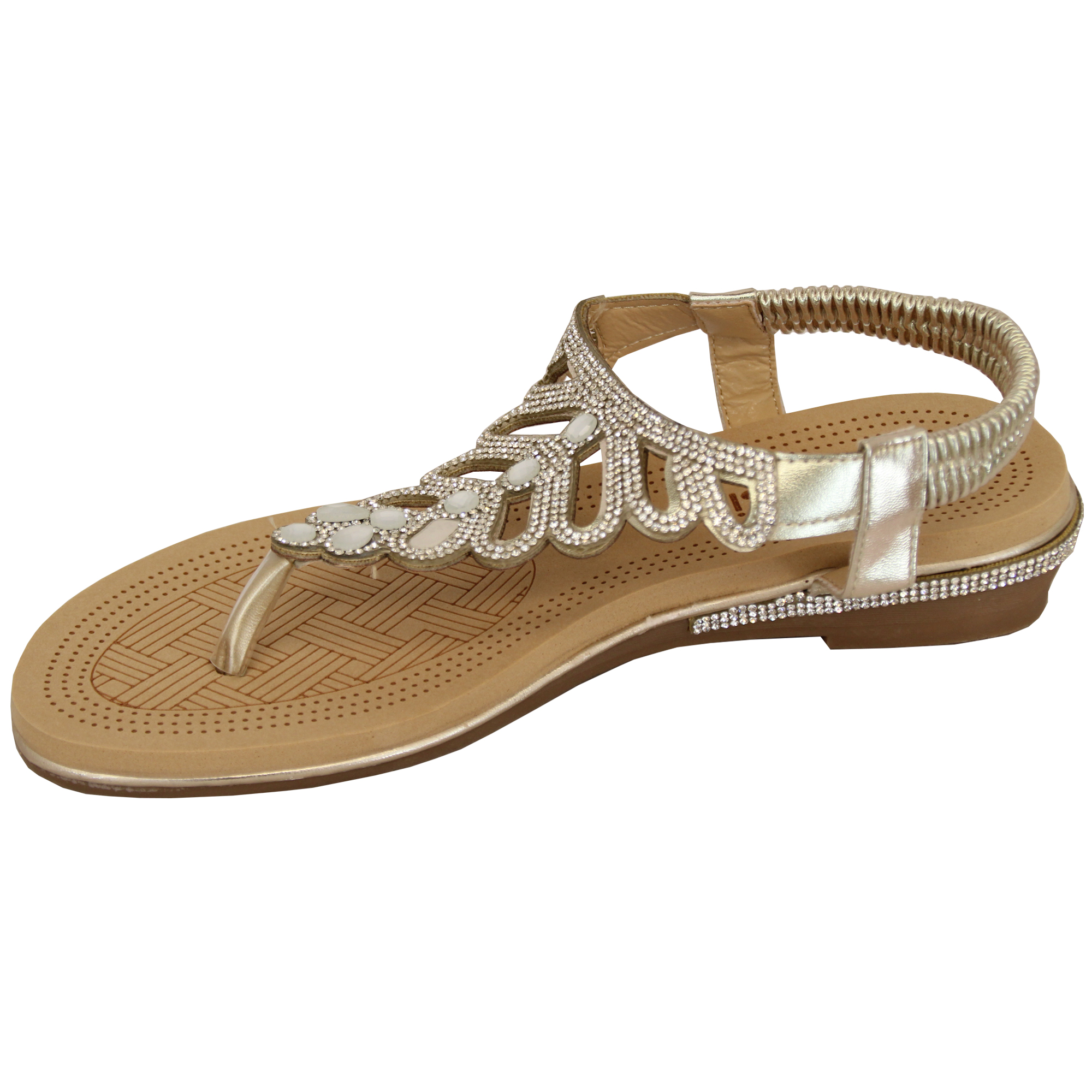 Ladies-Sandals-Kelsi-Womens-Diamante-Slip-On-Toe-Post-Shoes-Casual-Fashion-New thumbnail 22