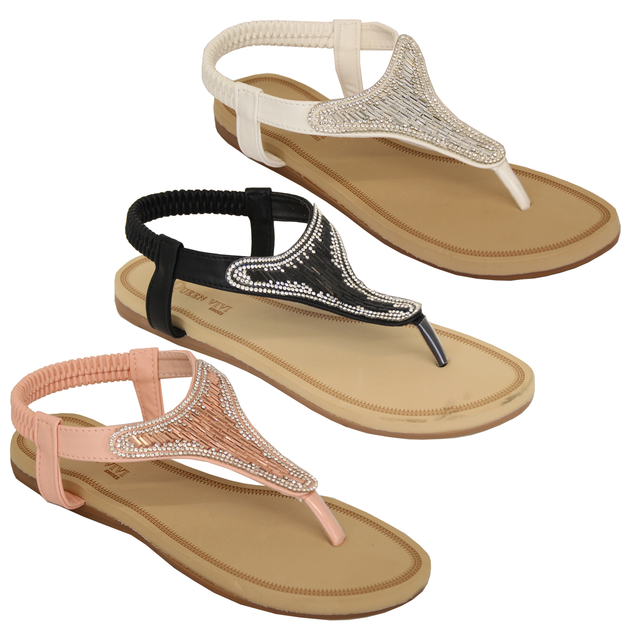 Ladies-Diamante-Sandals-Womens-Slip-On-Toe-Post-Shoes-Party-Wedding-Fashion-New thumbnail 7