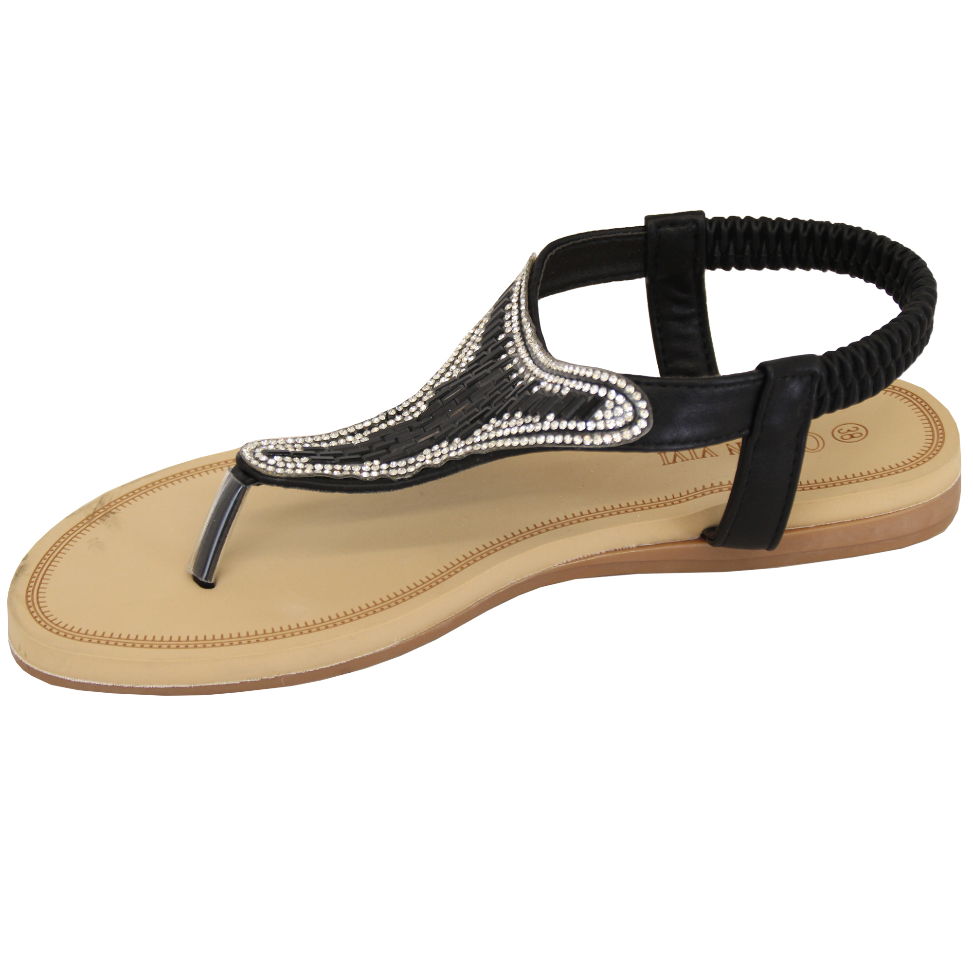 Ladies-Diamante-Sandals-Womens-Slip-On-Toe-Post-Shoes-Party-Wedding-Fashion-New thumbnail 3