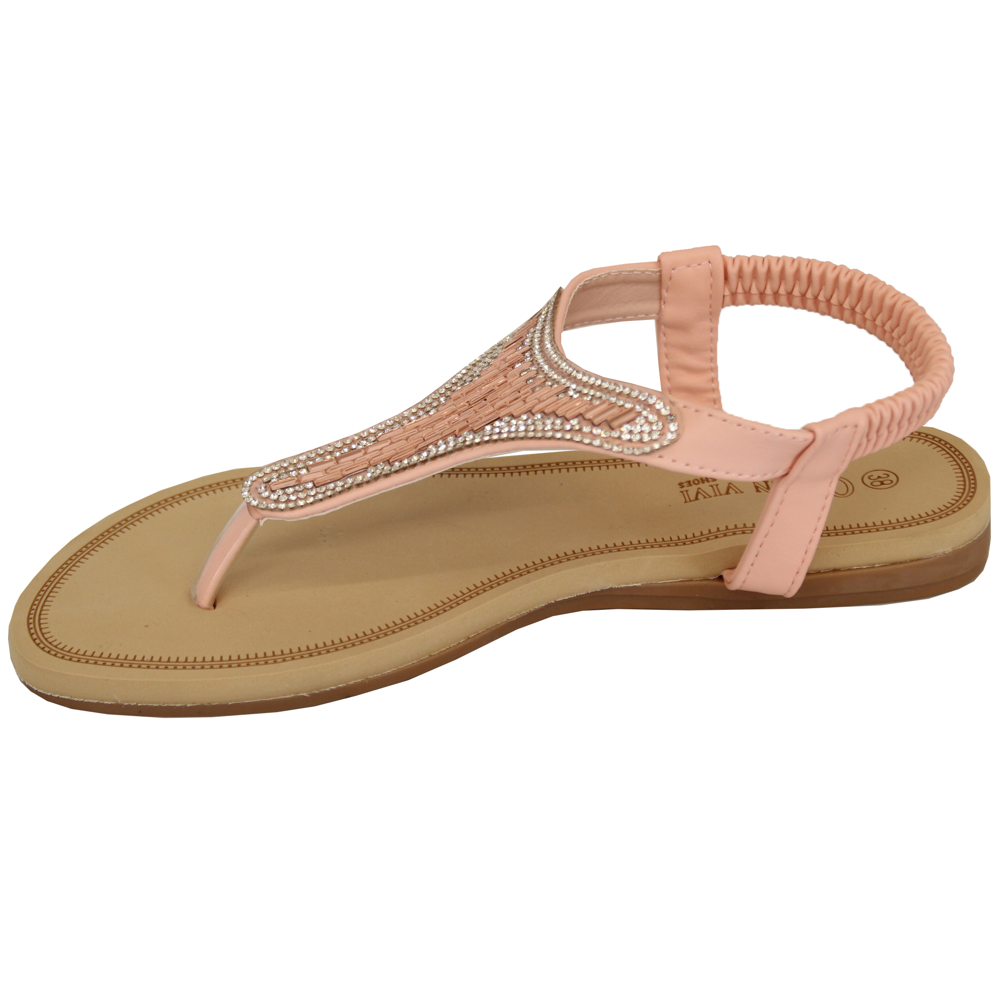 Ladies-Diamante-Sandals-Womens-Slip-On-Toe-Post-Shoes-Party-Wedding-Fashion-New thumbnail 6