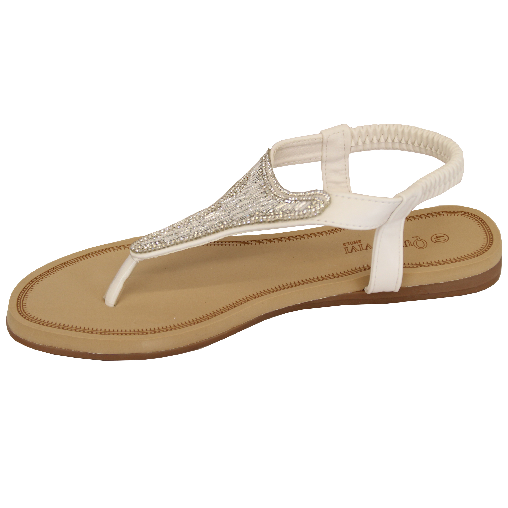 Ladies-Diamante-Sandals-Womens-Slip-On-Toe-Post-Shoes-Party-Wedding-Fashion-New thumbnail 9