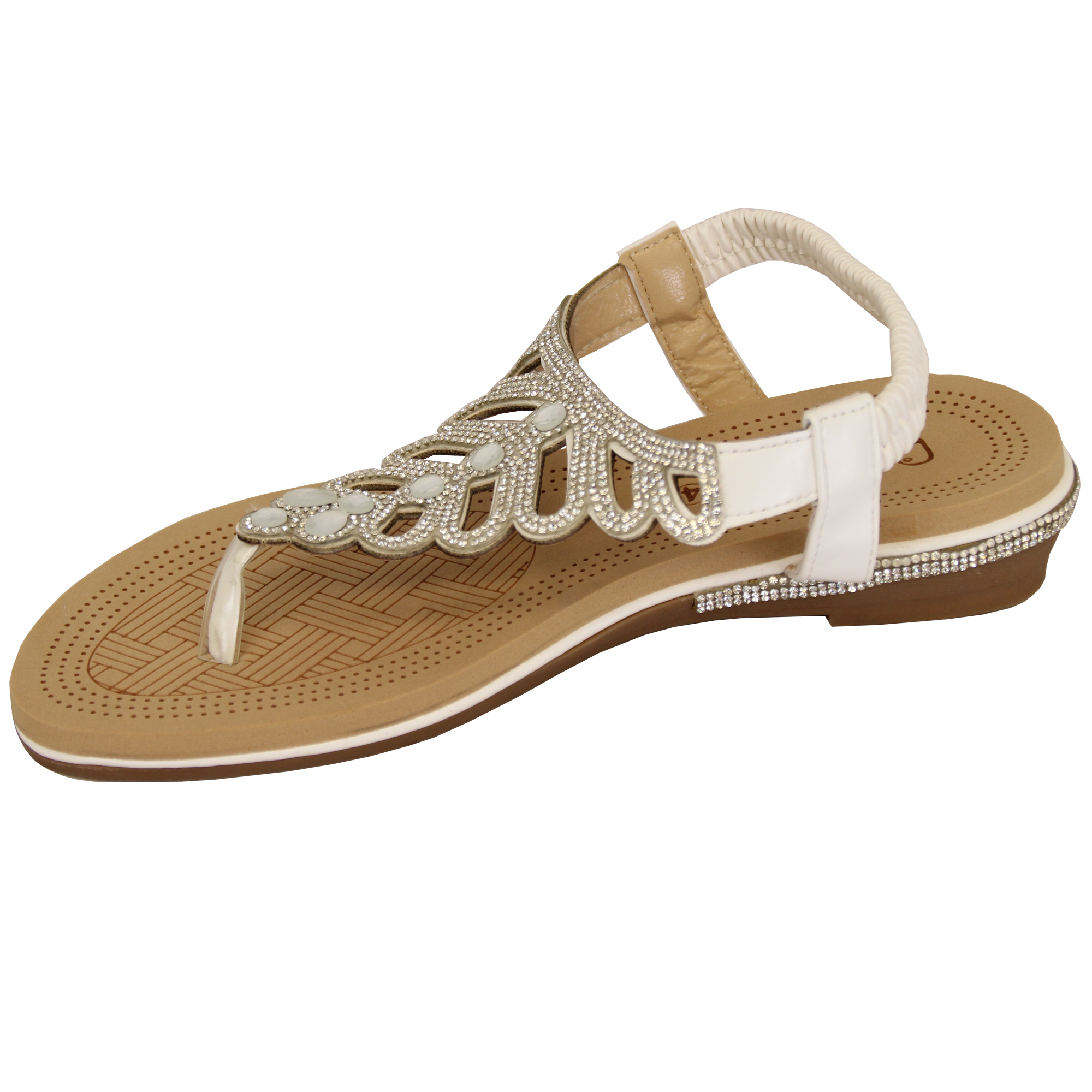 Ladies-Sandals-Kelsi-Womens-Diamante-Slip-On-Toe-Post-Shoes-Casual-Fashion-New thumbnail 36