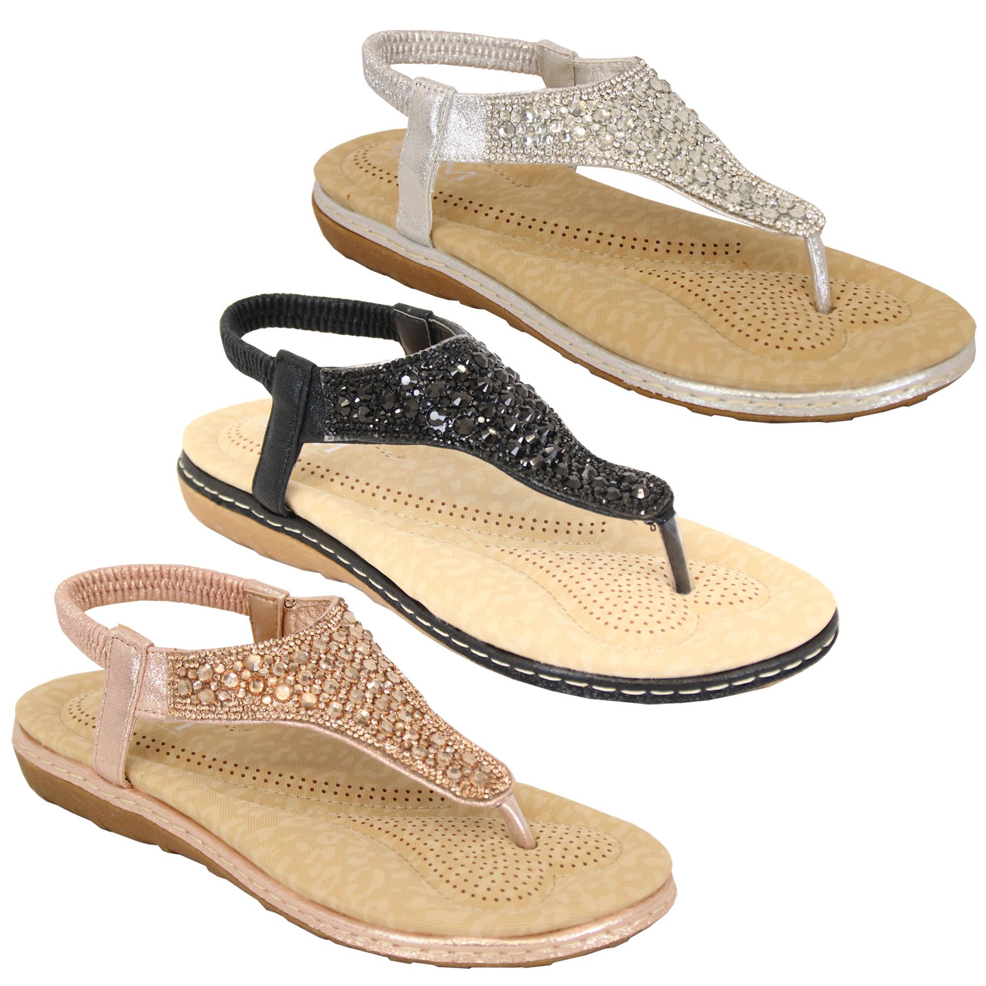 Ladies-Diamante-Sandals-Womens-Slip-On-Toe-Post-Sling-Back-Shoes-Wedding-Party thumbnail 5