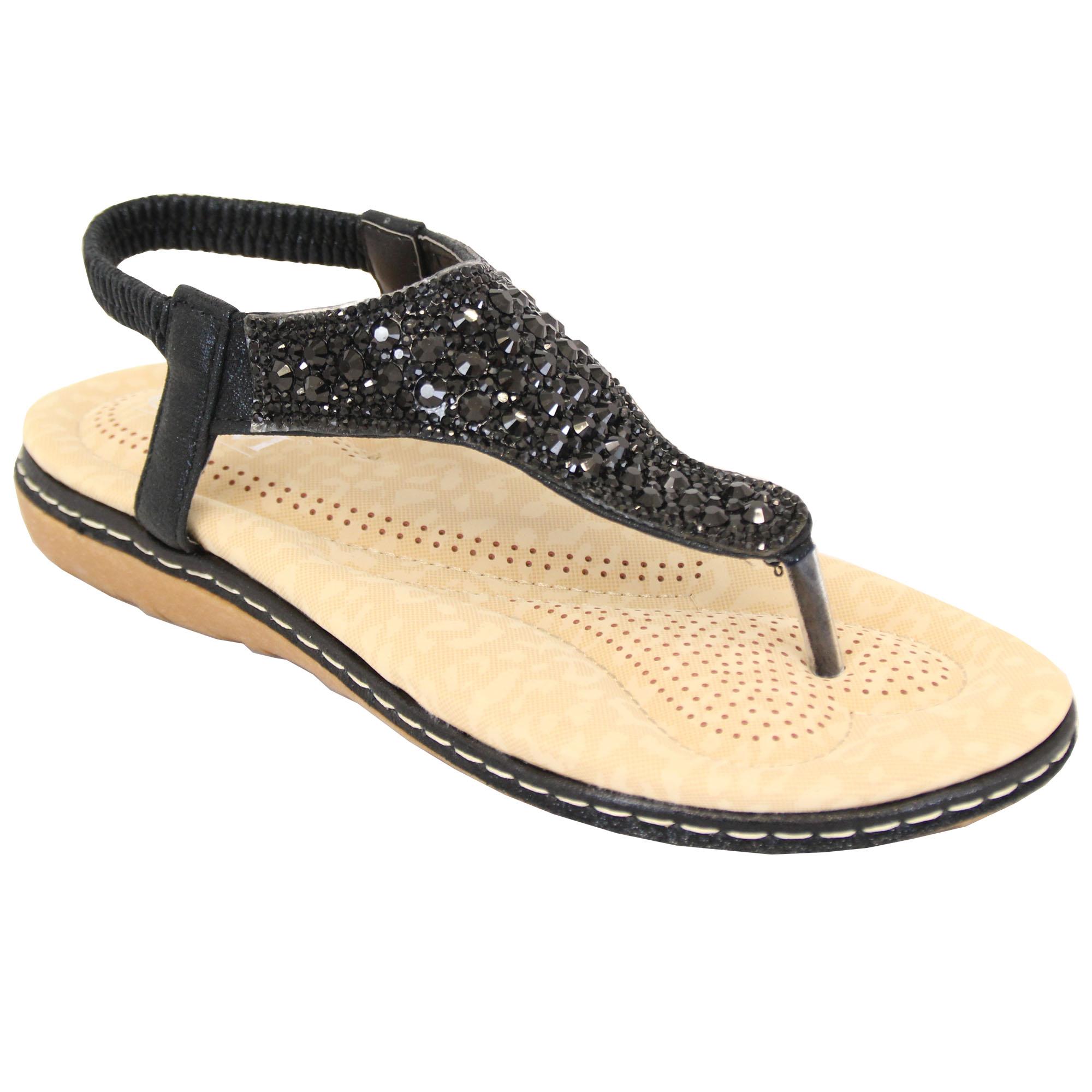 Ladies-Diamante-Sandals-Womens-Slip-On-Toe-Post-Sling-Back-Shoes-Wedding-Party thumbnail 2