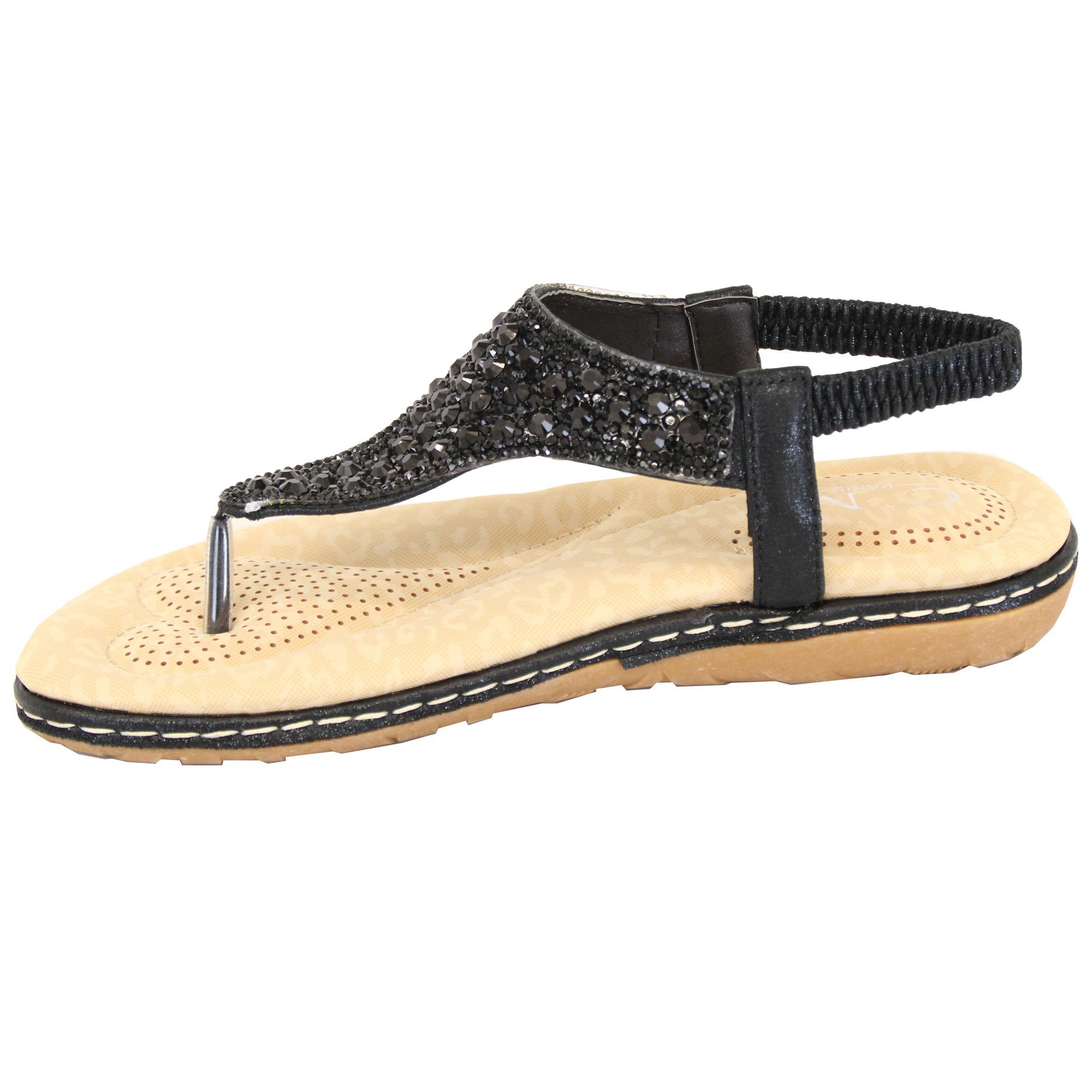 Ladies-Diamante-Sandals-Womens-Slip-On-Toe-Post-Sling-Back-Shoes-Wedding-Party thumbnail 3
