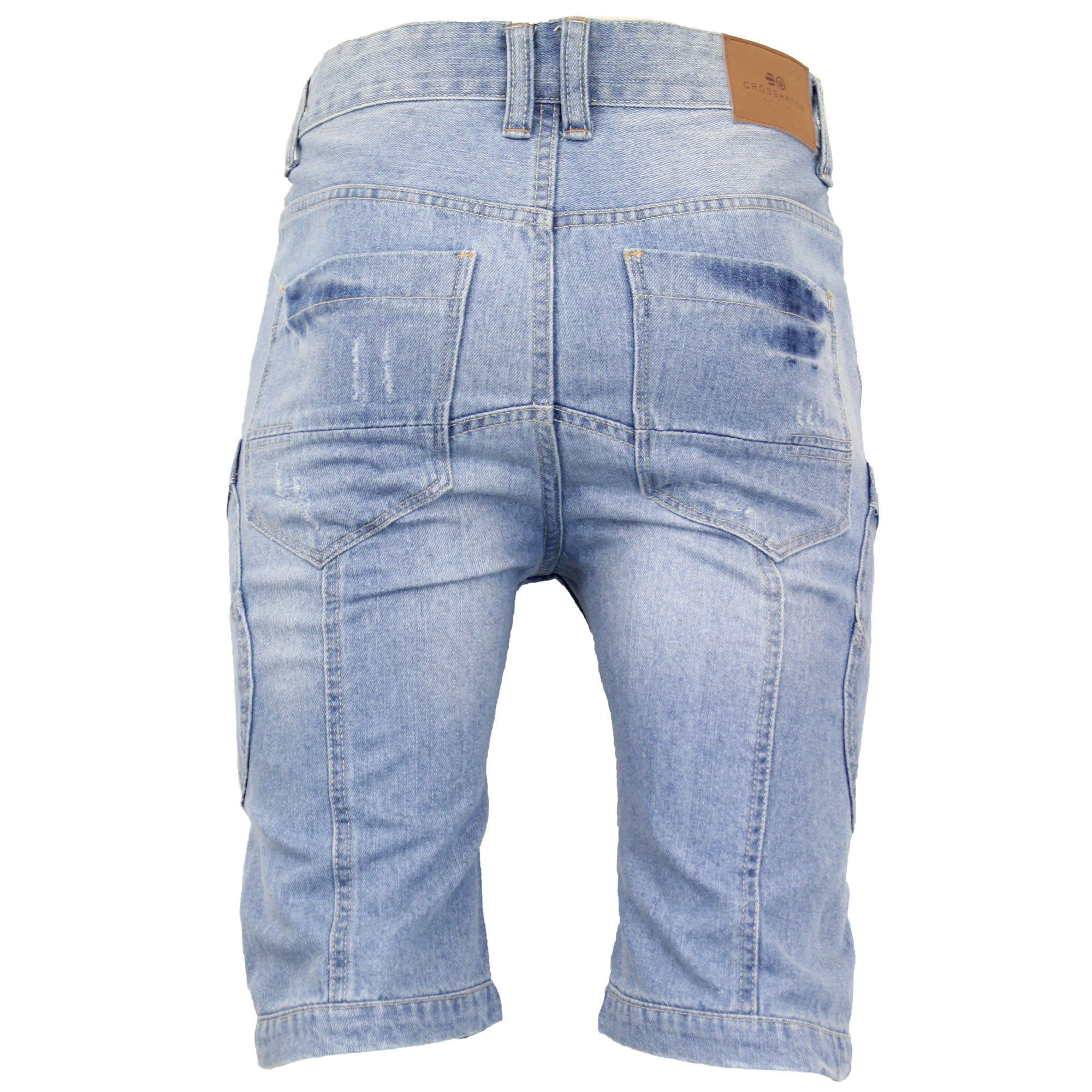 Mens-Crosshatch-Denim-Knee-Length-Combat-Shorts-Cargo-Casual-Fashion-Summer-New 縮圖 35