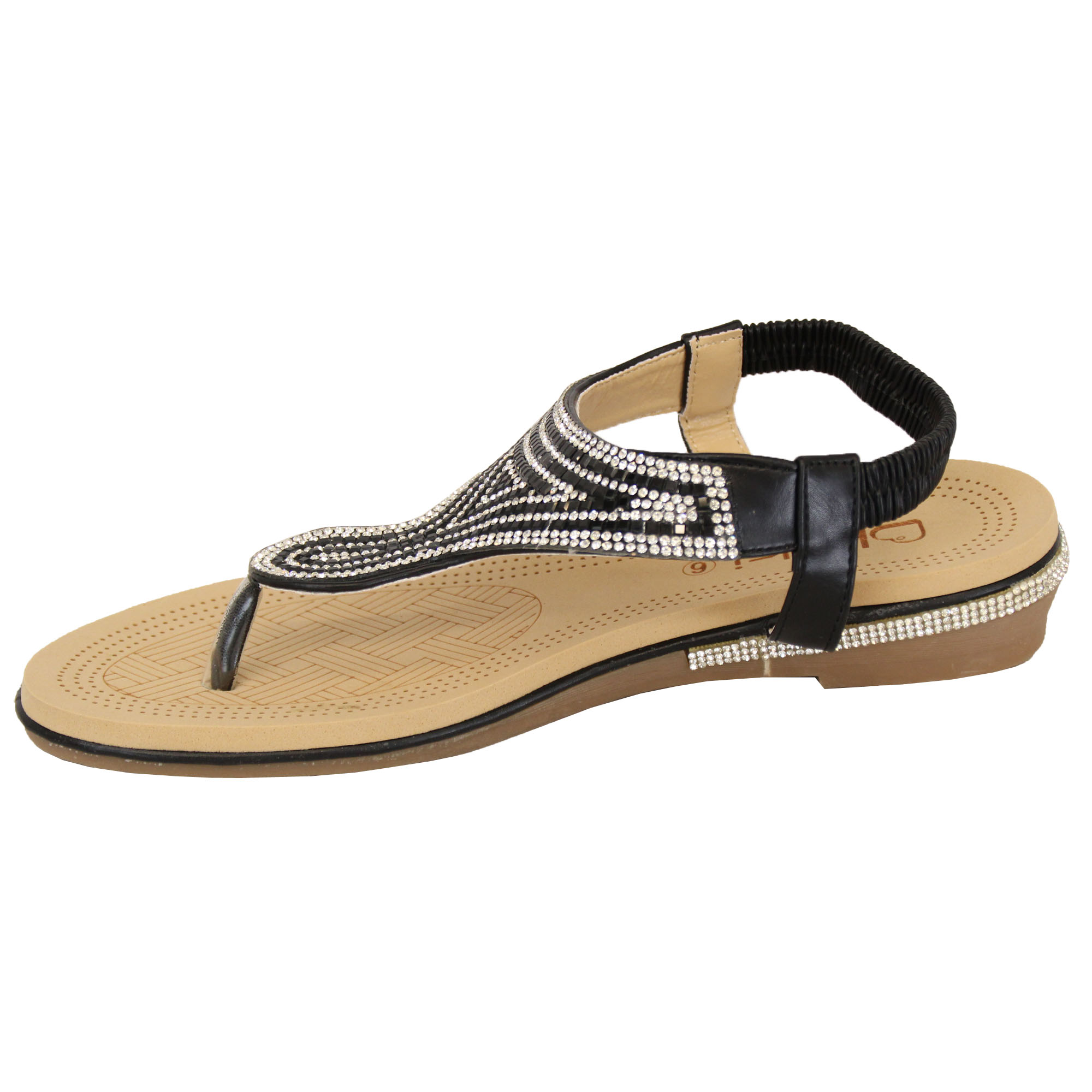 Ladies-Sandals-Kelsi-Womens-Diamante-Slip-On-Toe-Post-Shoes-Casual-Fashion-New thumbnail 15