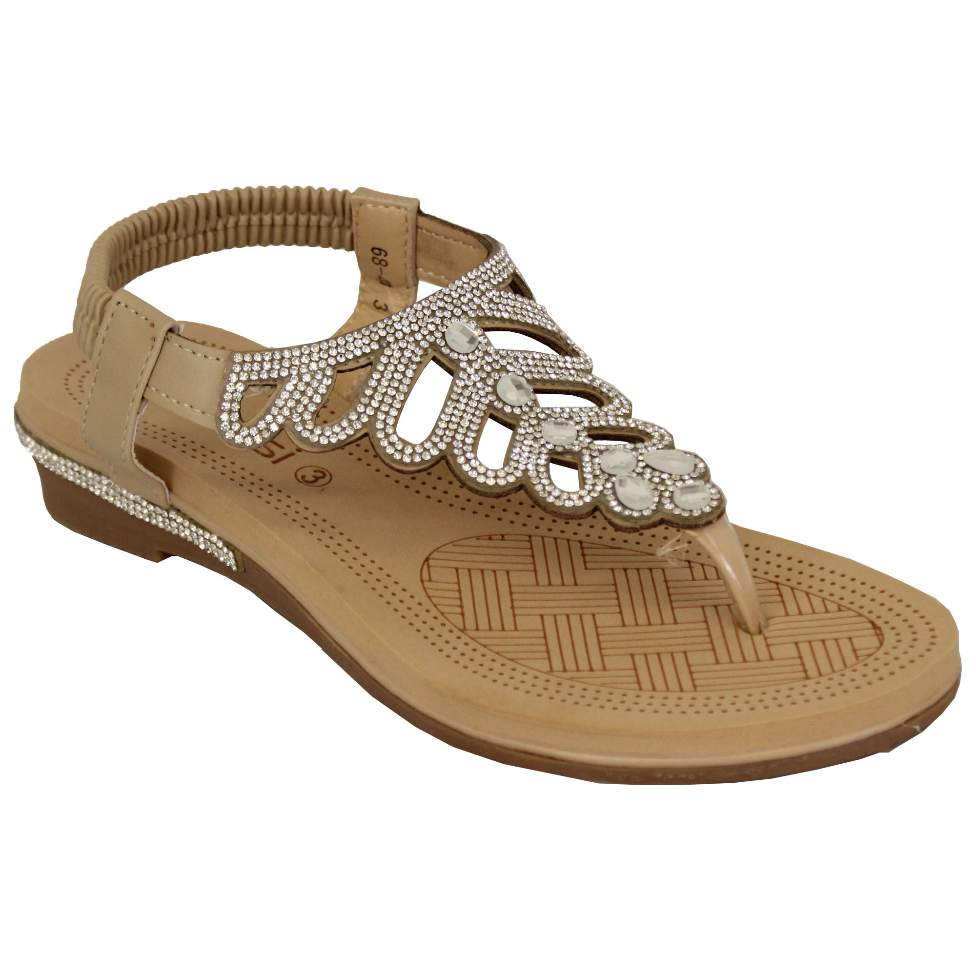 Ladies-Sandals-Kelsi-Womens-Diamante-Slip-On-Toe-Post-Shoes-Casual-Fashion-New thumbnail 2