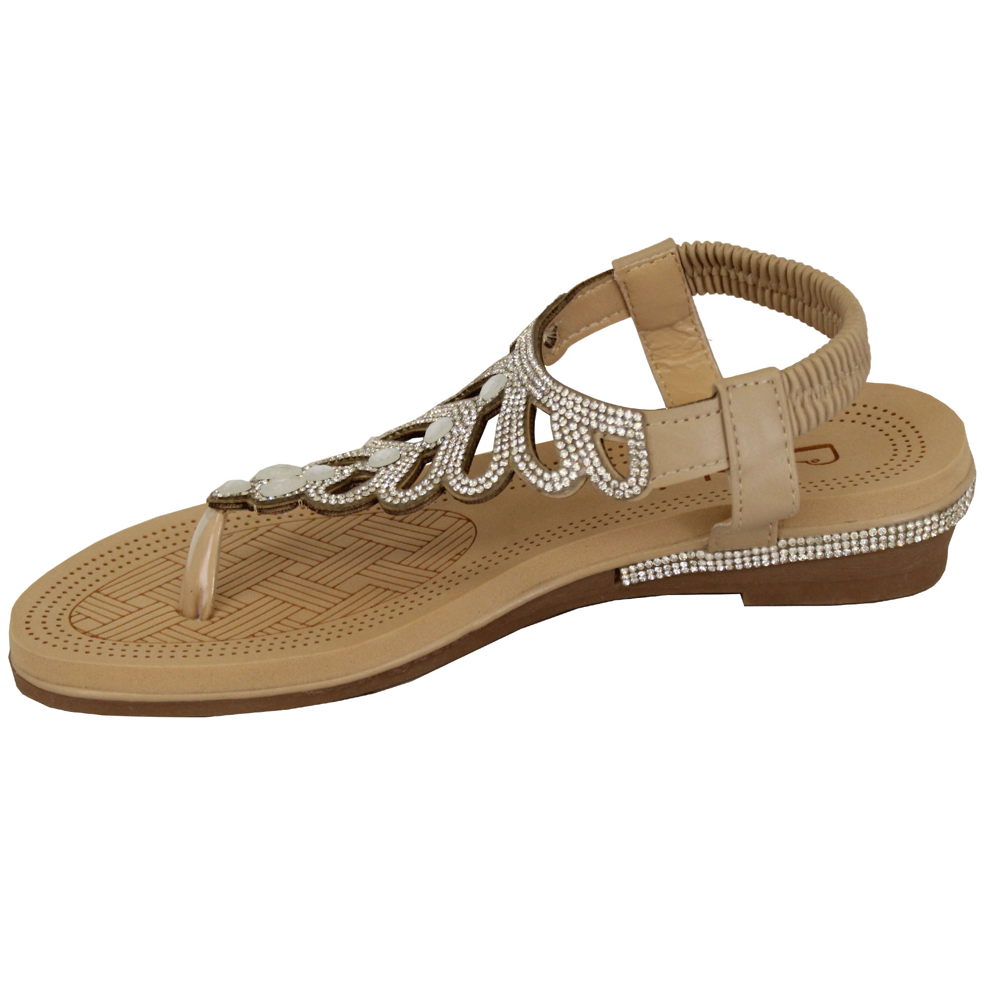 Ladies-Sandals-Kelsi-Womens-Diamante-Slip-On-Toe-Post-Shoes-Casual-Fashion-New thumbnail 3