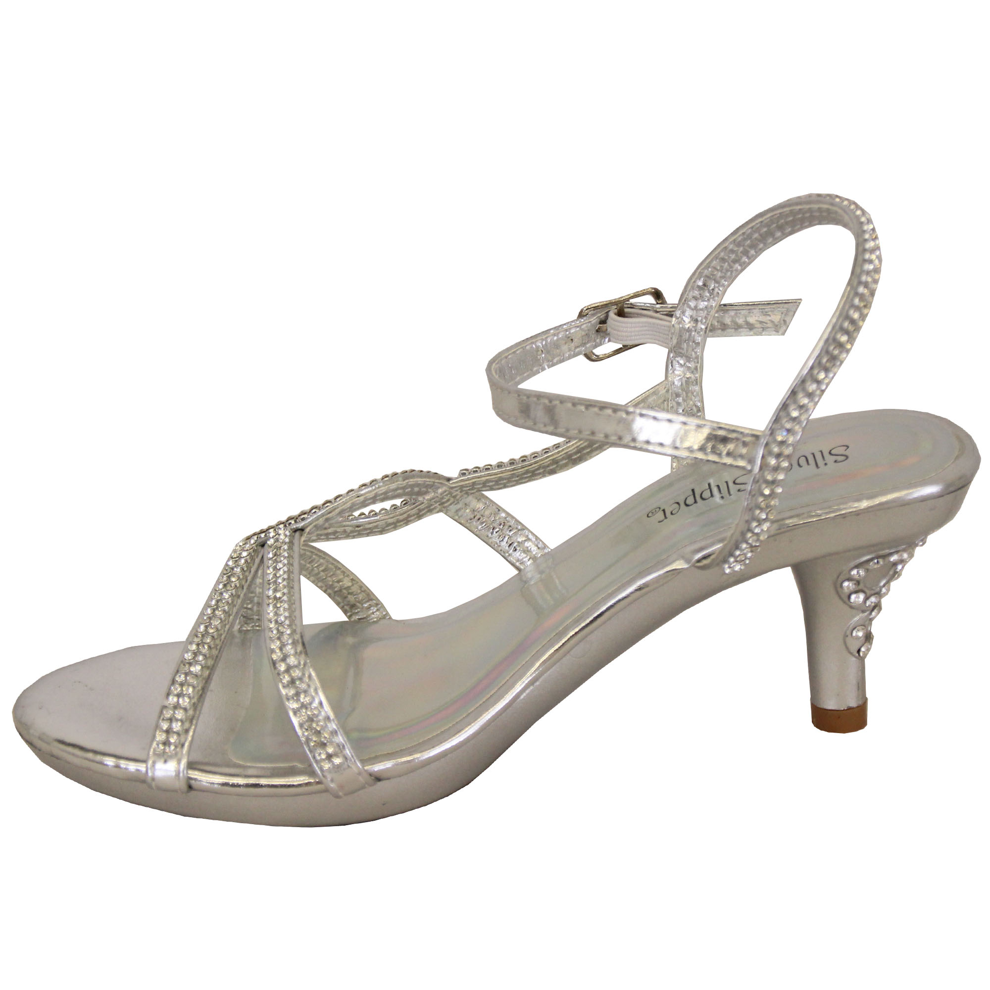 Details about Girls Mid Heel Sandals Kids Diamante Ankle Strap Open Toe Party Wedding Fashion