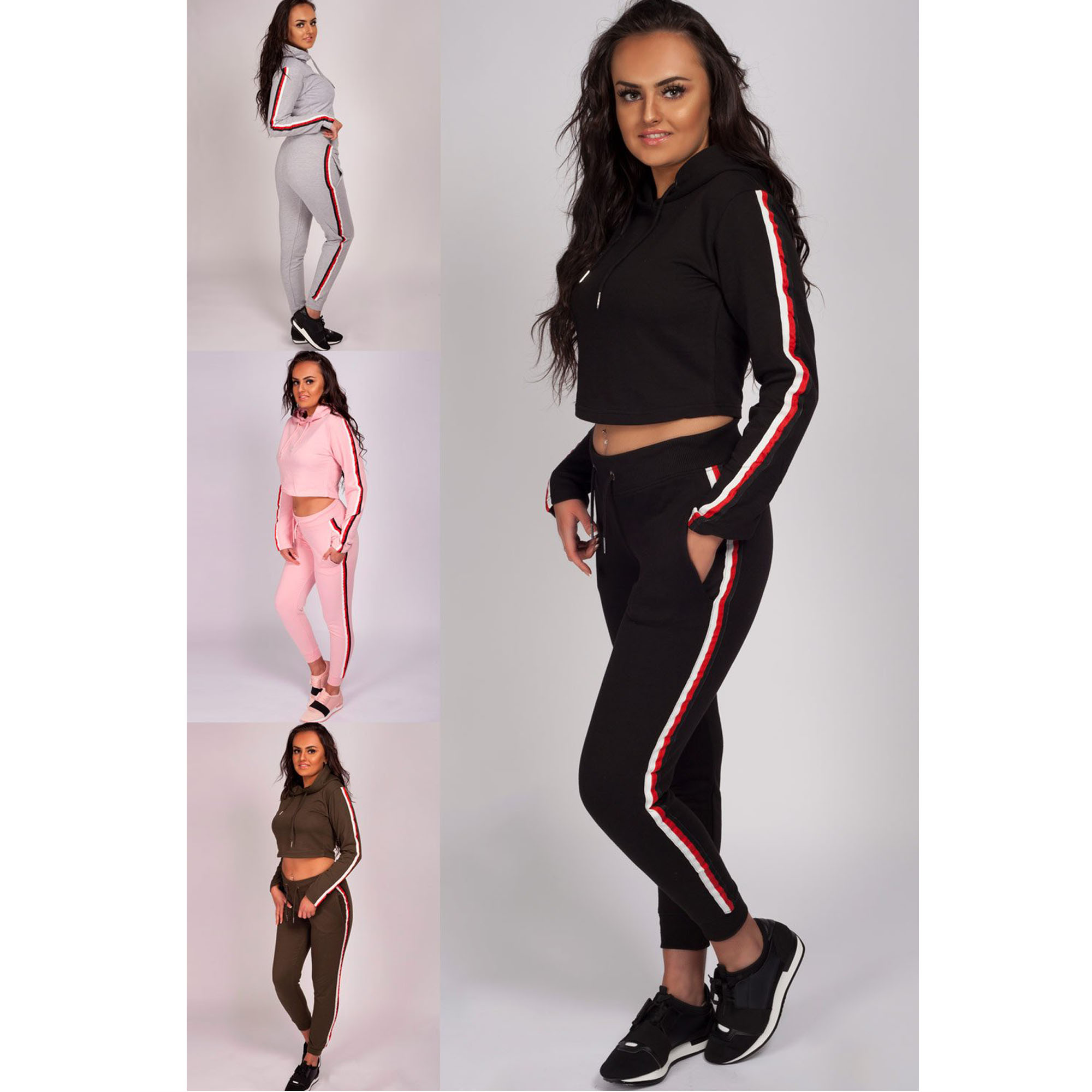 Women's Tracksuit Lounge Wear Hooded Knitted Two Piece Jogging Bottoms Trouser
