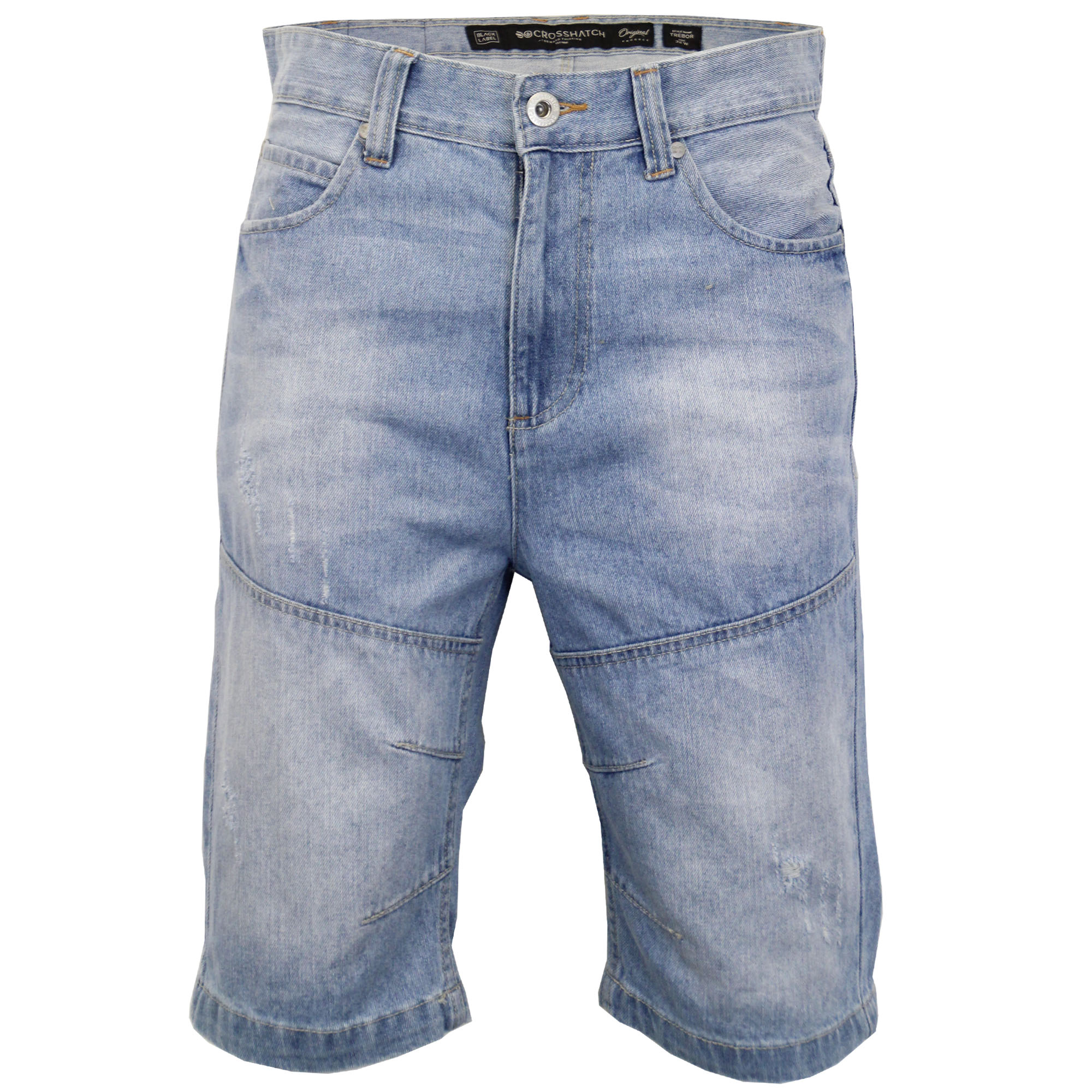 Mens-Crosshatch-Denim-Knee-Length-Combat-Shorts-Cargo-Casual-Fashion-Summer-New 縮圖 42
