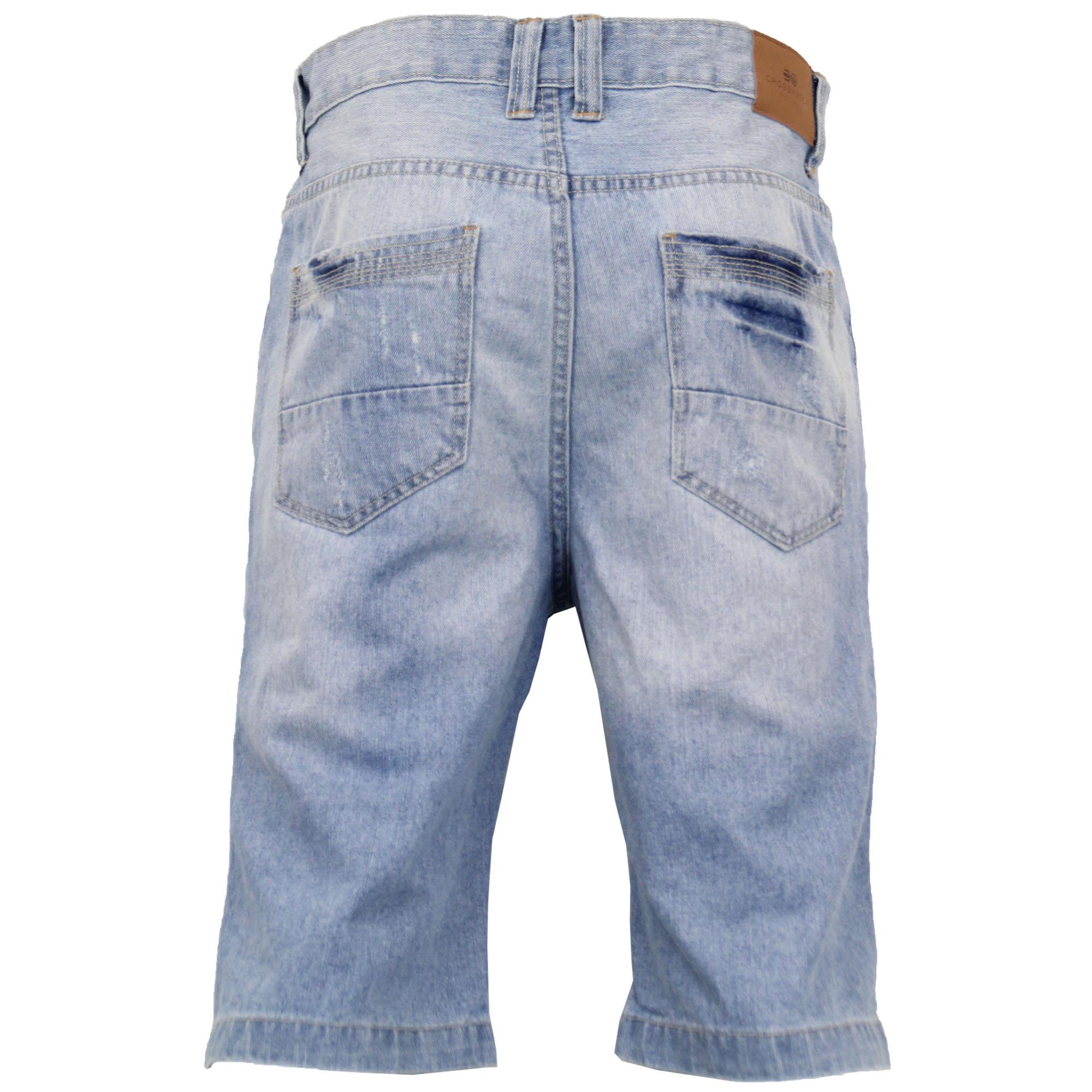 Mens-Crosshatch-Denim-Knee-Length-Combat-Shorts-Cargo-Casual-Fashion-Summer-New 縮圖 43